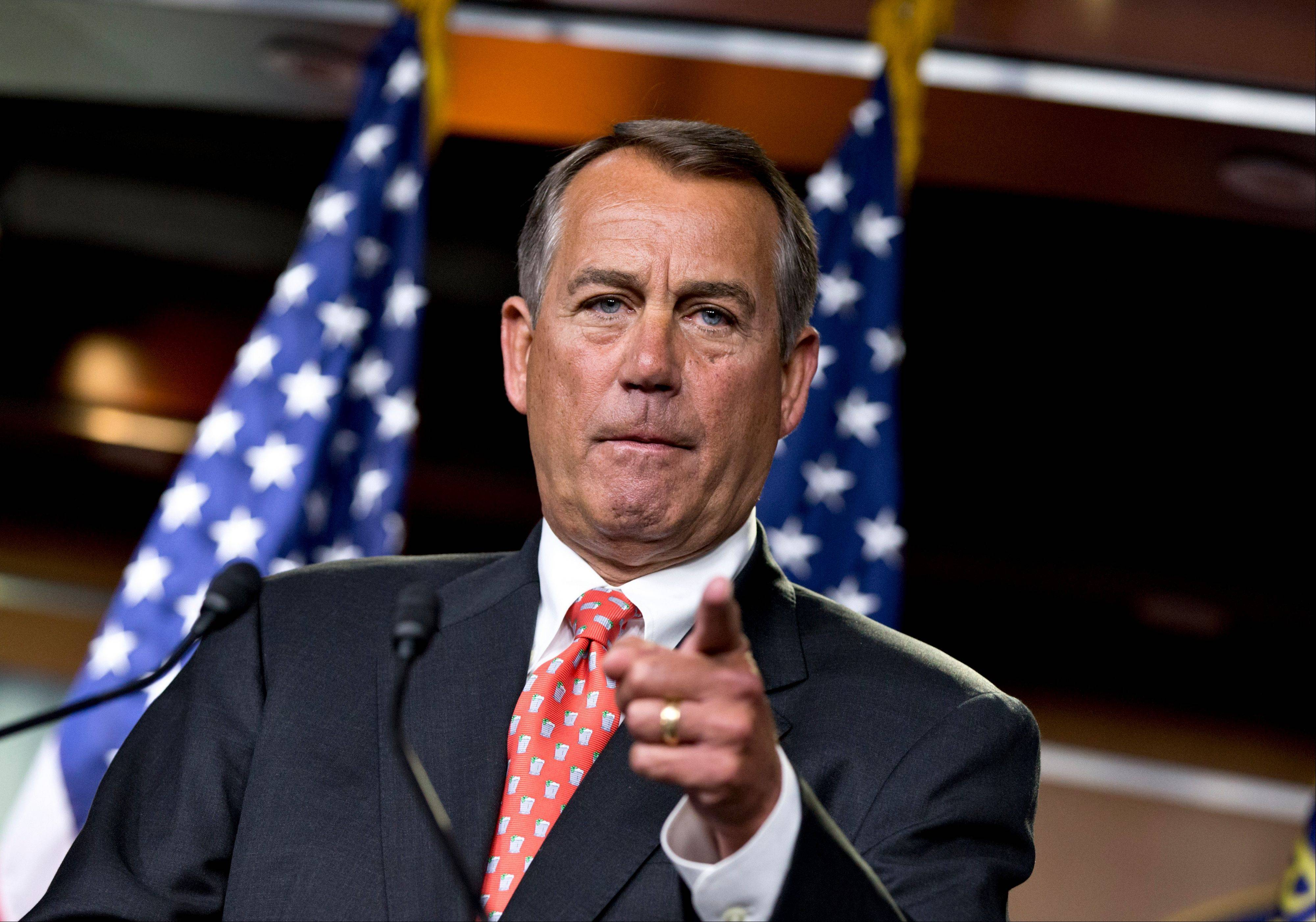 House Speaker John Boehner speaks to reporters after private talks with Treasury Secretary Timothy Geithner on the fiscal cliff negotiations. Boehner said no substantive progress has been made between the White House and the House in the past two weeks.