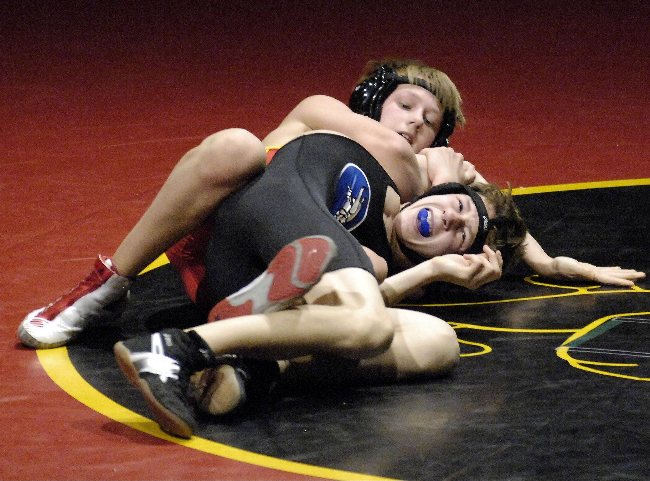 Batavia's Luke Schulz defeated Geneva's Julian Dessens at 113 pounds Thursday at Batavia.
