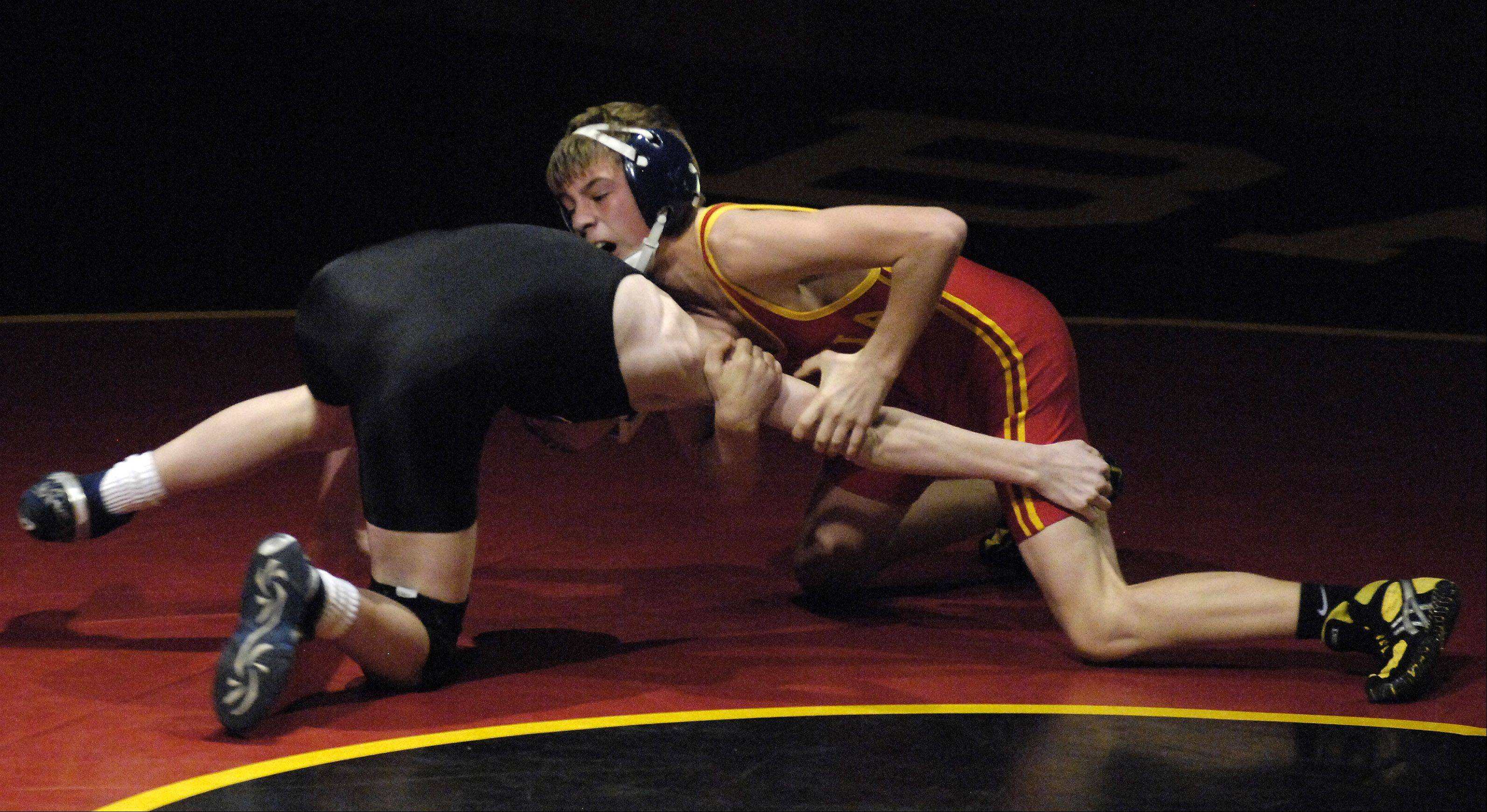 Batavia's Michael Doranski beat Geneva's Steven McDonald in the 106 pound class during wrestling action Thursday at Batavia.