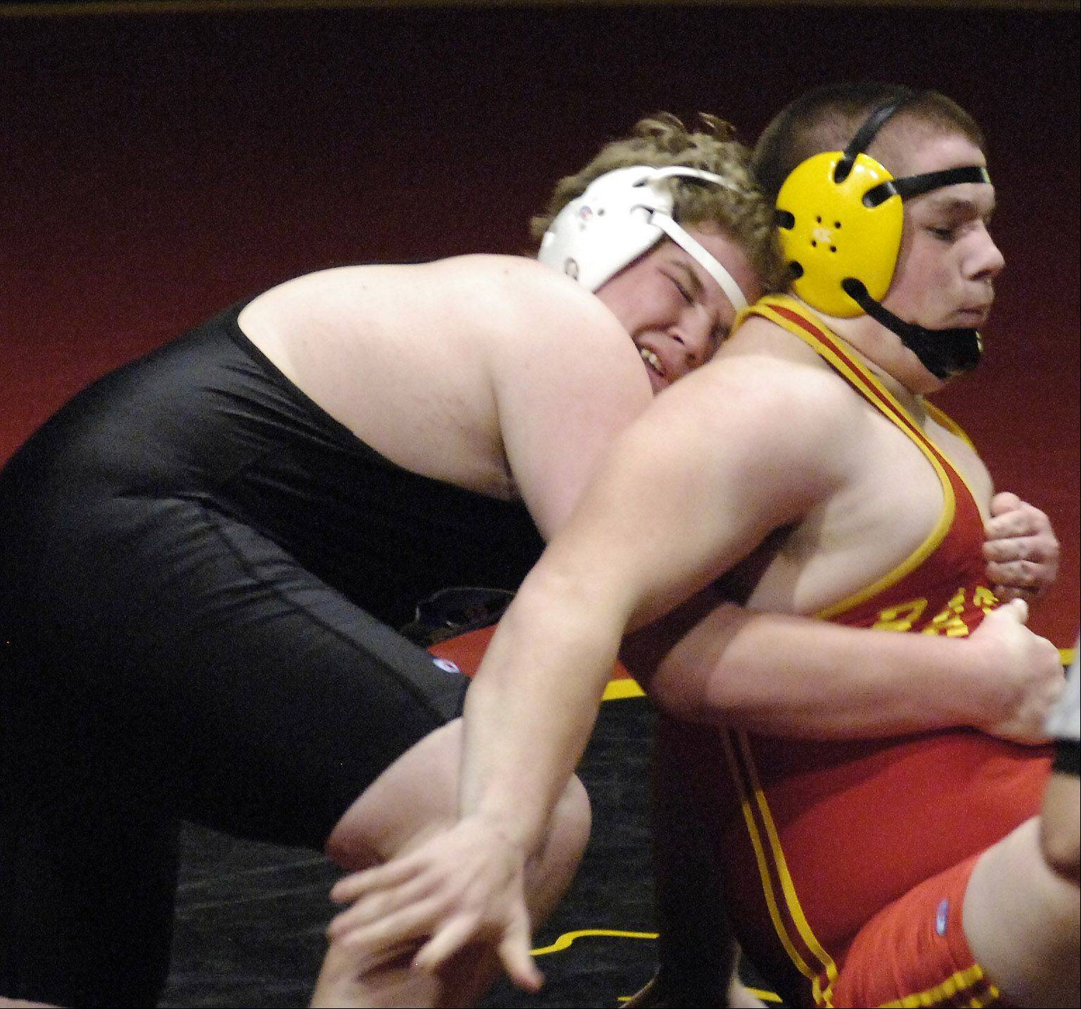 Geneva's Jake Anderson and Batavia's Mitchell Krusz battle in the heavyweight class during wrestling action Thursday at Batavia.