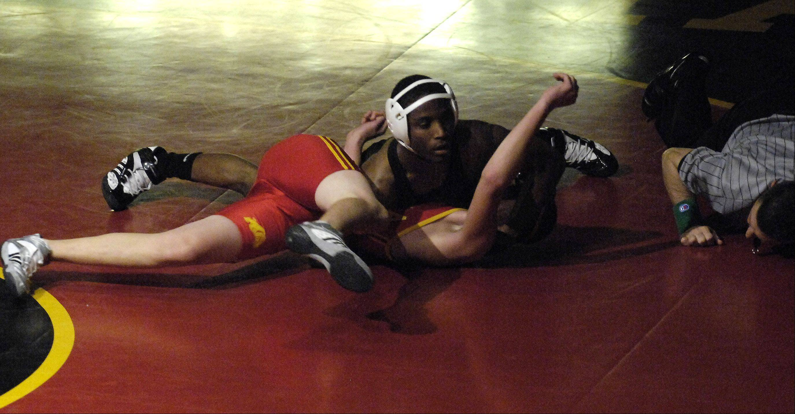 Geneva's Keneen Freeman scored a fast pin on Batavia's Shane Moczynski in the 132 pound division during wrestling action Thursday at Batavia.
