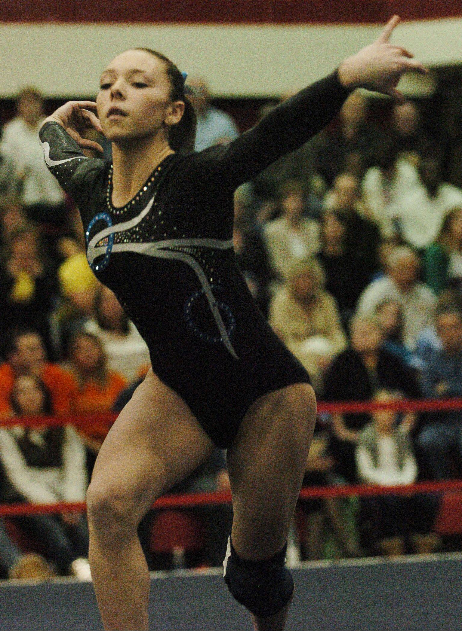 Prospect's Gianna Scala, here performing her fifth-place floor exercise routine in the state finals last season, returns for a Knights team with plenty of promise.