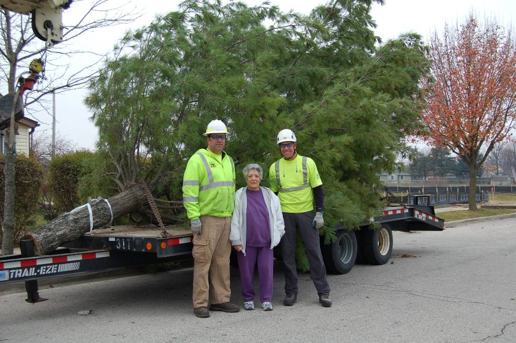 West Chicago resident Maria Villela stands with Tim Ayers, Safety and Human Performance Specialist, and Todd Kramer, Director of Field Operations, from Kramer Tree Specialists. Villela donated the tree in her front yard to the community for its use as the official 2012 Christmas tree; and Kramer Tree Specialists donated their time and labor in removing it, installing and decorating it at the Fox Community Center, 306 Main Street, West Chicago.