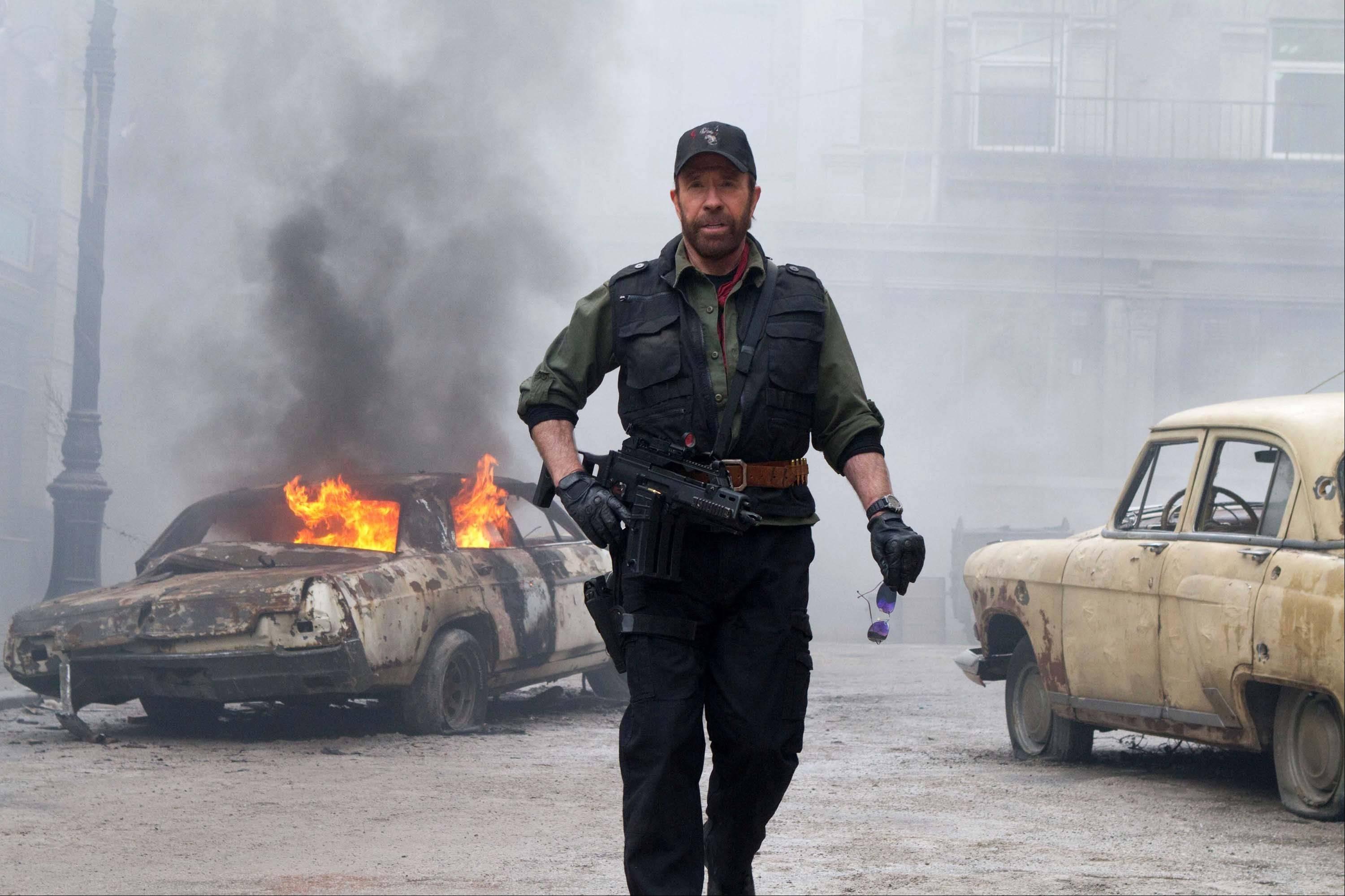 "Chuck Norris and pals amp up the action in ""The Expendables 2."""