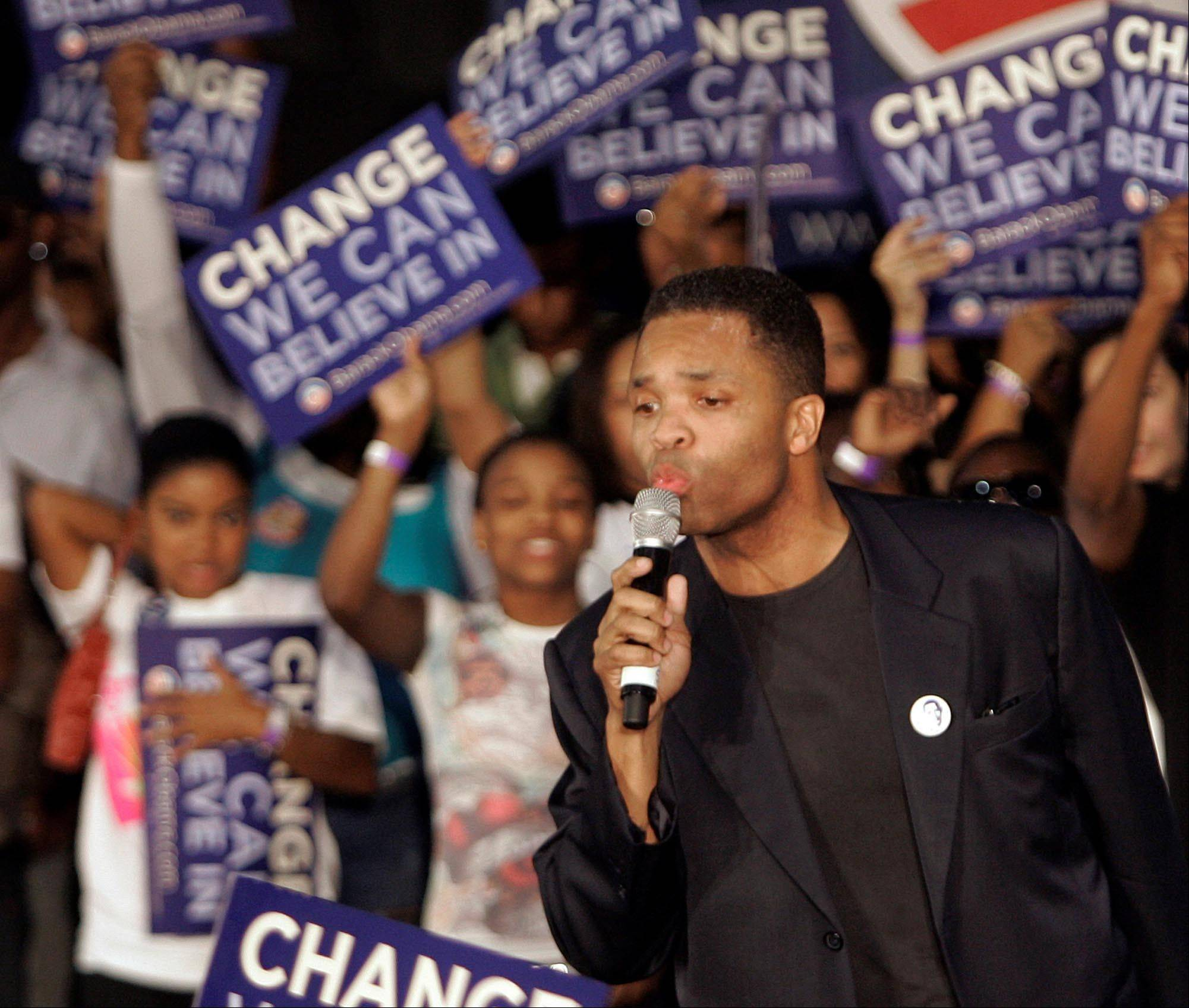 Former U.S. Rep. Jesse Jackson Jr. speaks to Barack Obama supporters during a 2008 campaign rally. Last month, he abandoned his congressional seat last week because of mental health problems and two federal investigations.