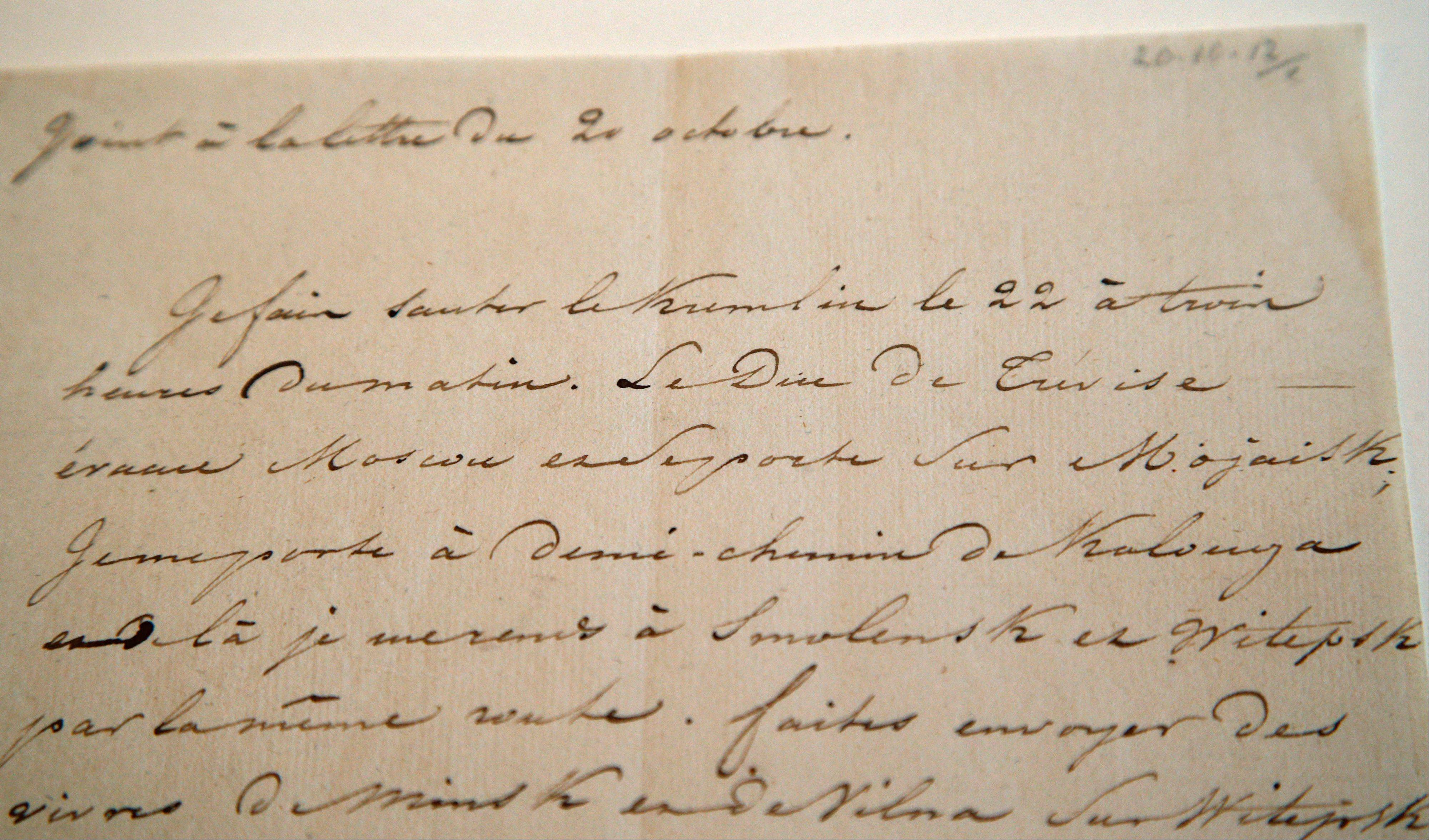 "A letter dictated by Napoleon in secret code declares his intentions ""to blow up the Kremlin"" during his ill-fated Russian campaign. The letter goes on auction Sunday, Dec. 2, 2012."