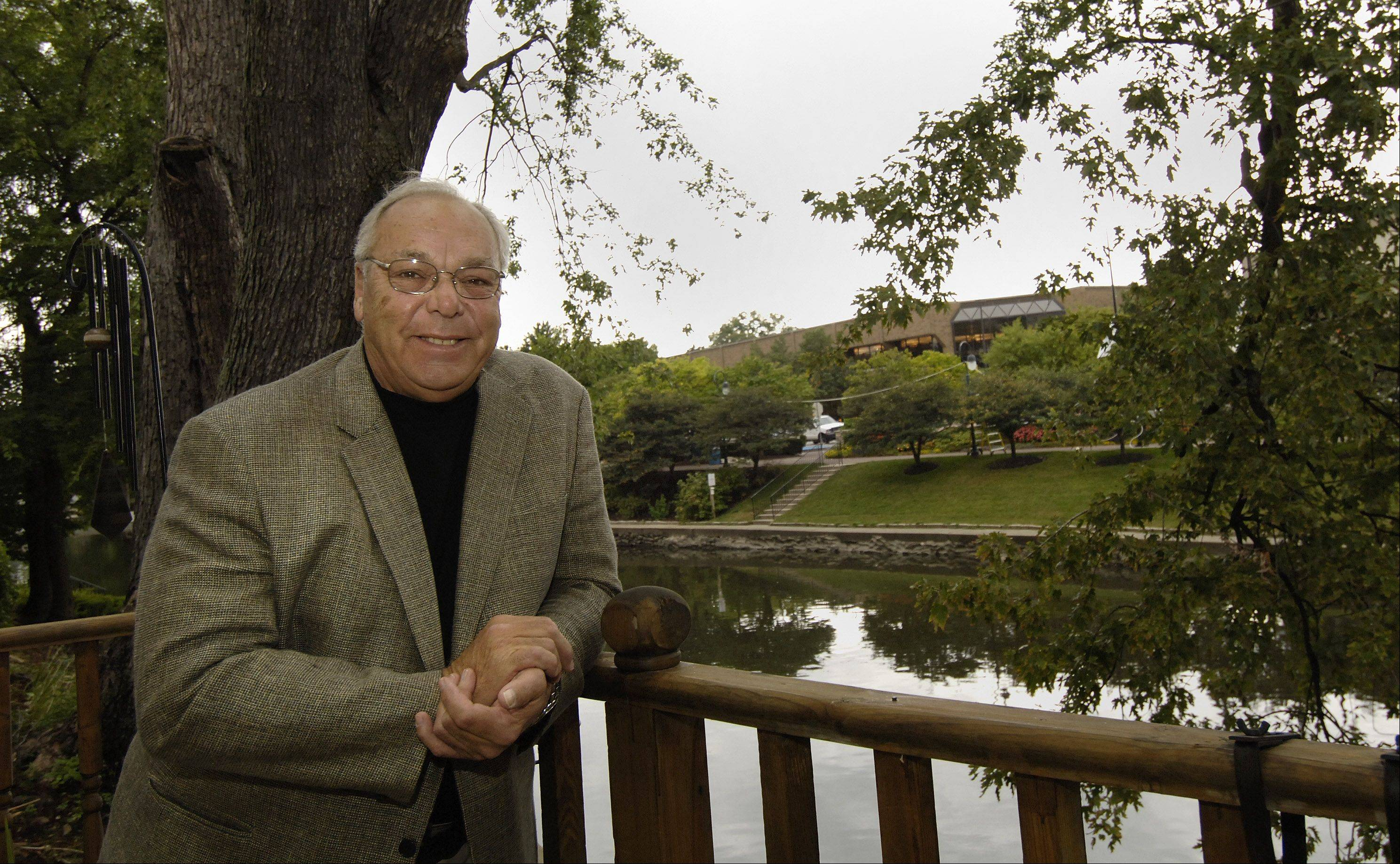 Naperville attorney Bill Brestal on his office patio overlooking the Naperville Riverwalk in 2005.