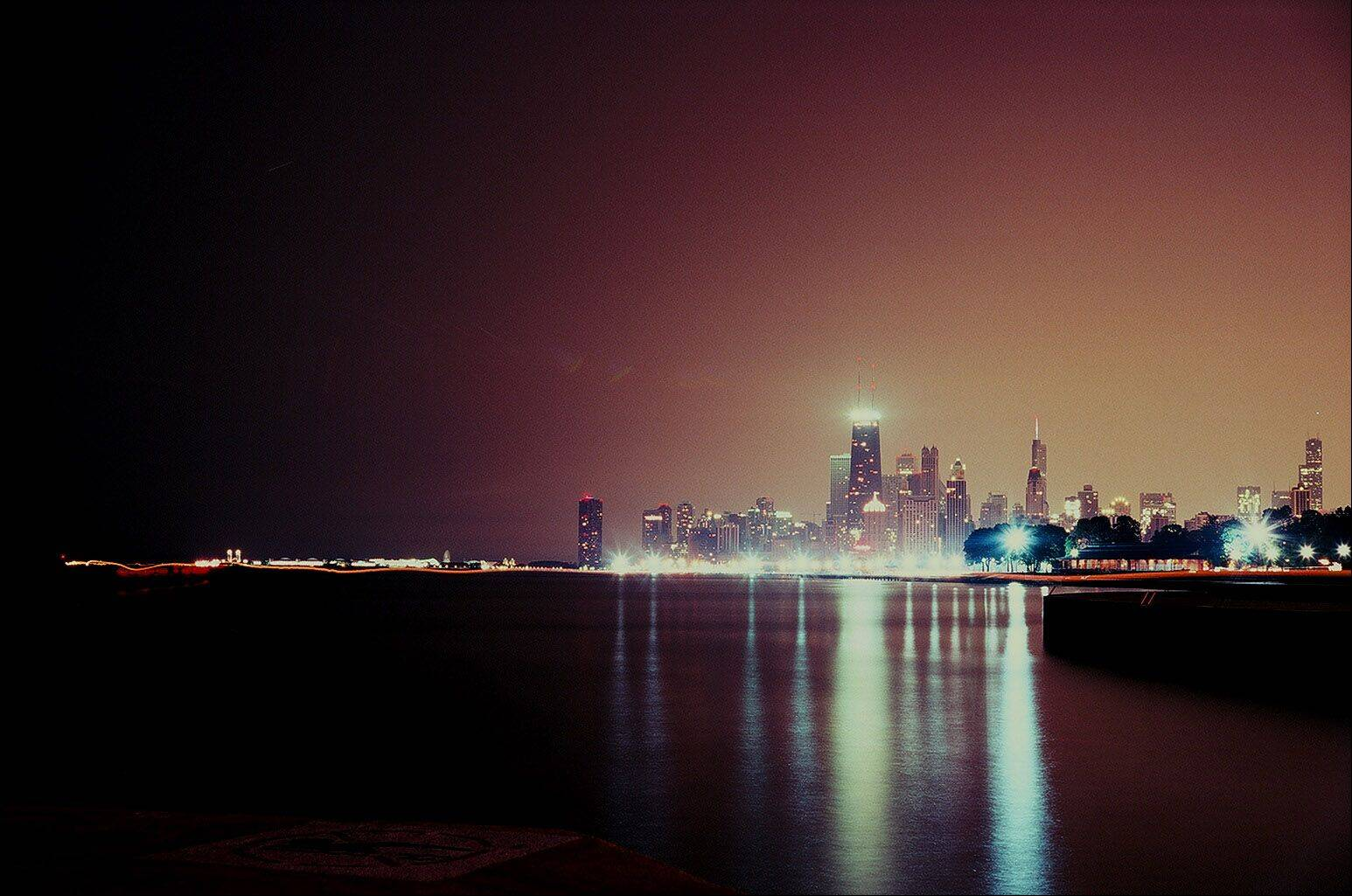 This is a photo of the Chicago skyline from the lakeshore near the Belmont exit off Lake Shore Drive. I took the photo with a Yashica Electro 35 GSN with Kodak Portra 400 NC at f8 for about five or so minutes.