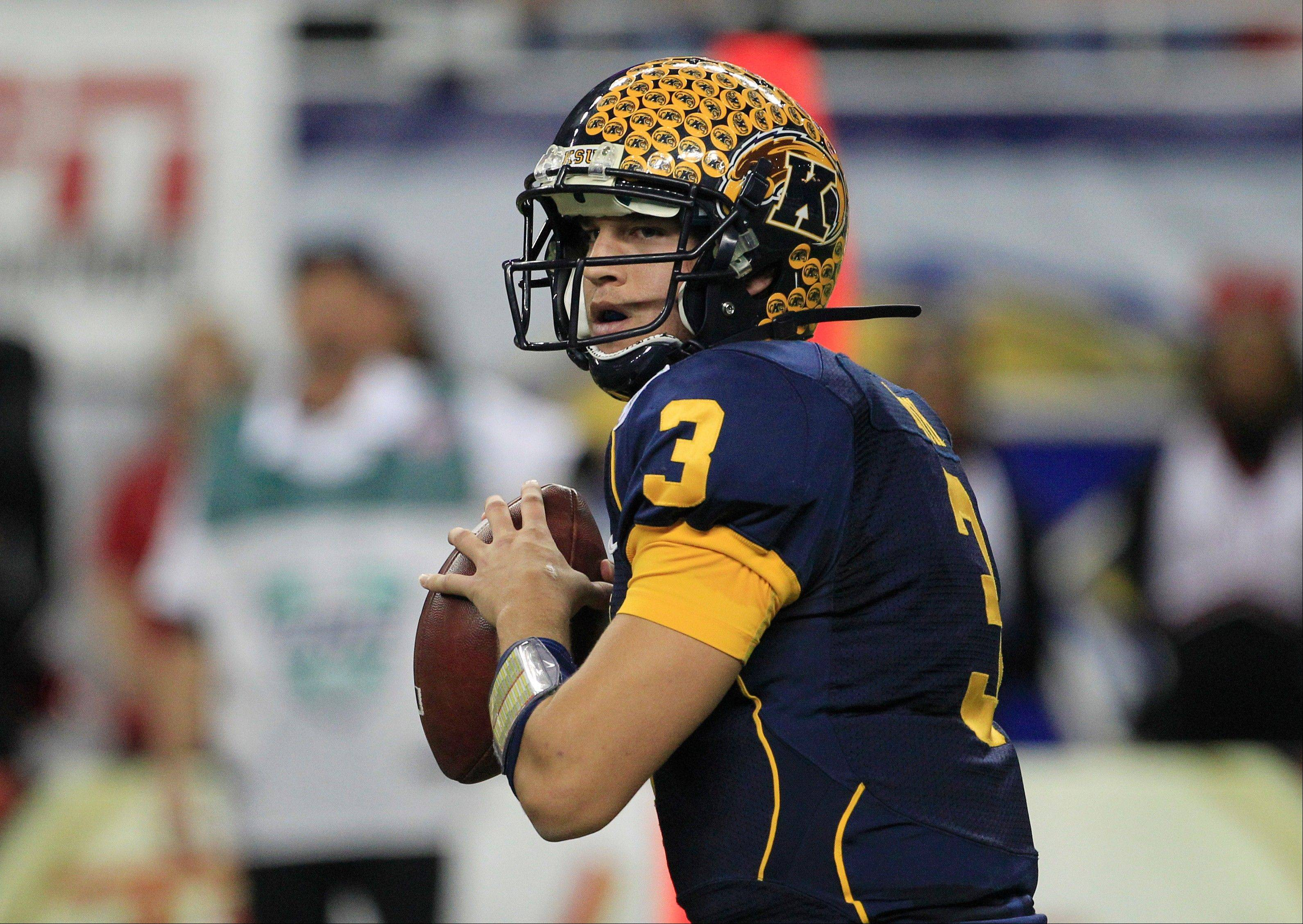 Kent State quarterback Spencer Keith looks for a receiver Friday during the first quarter.