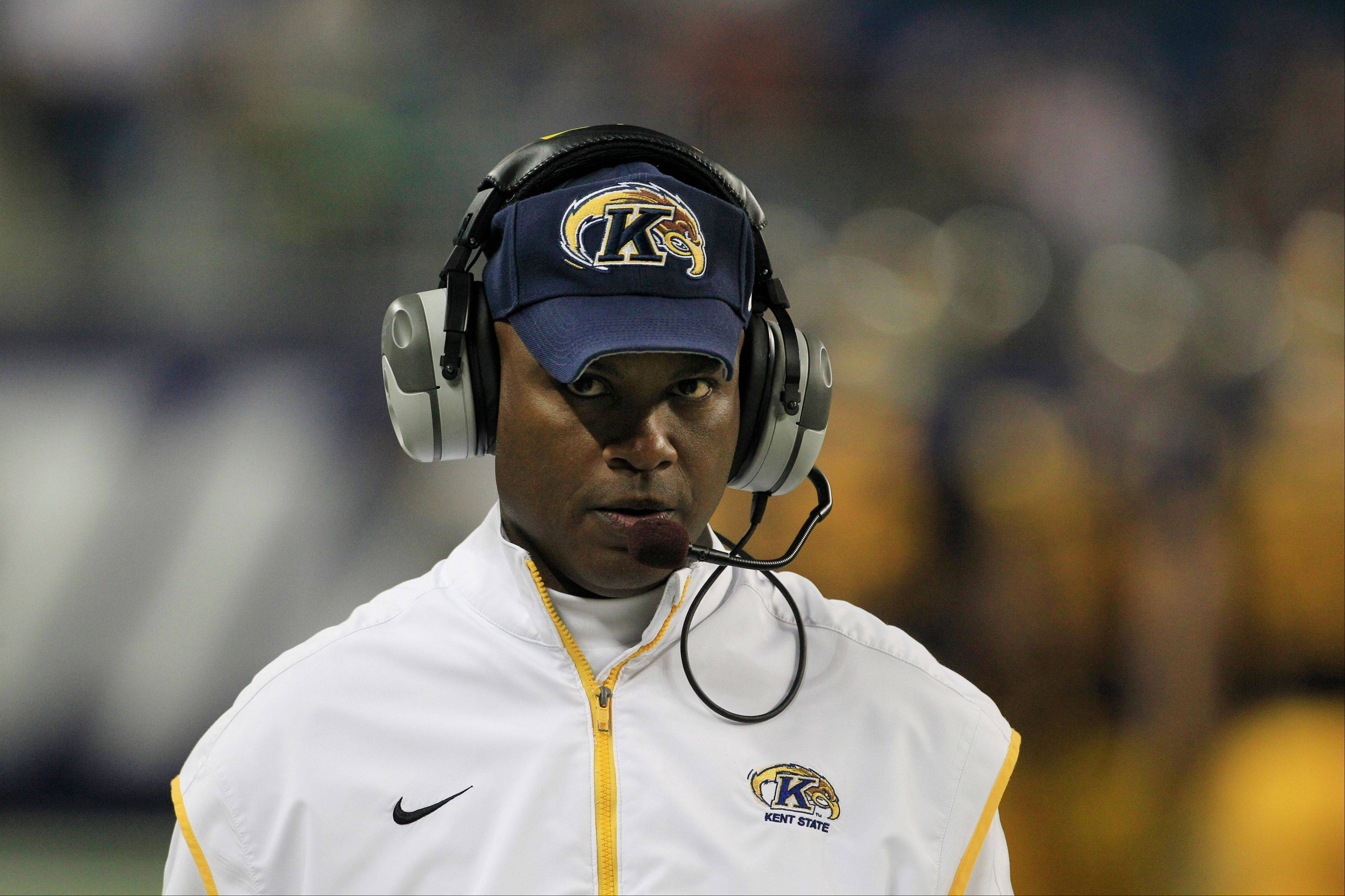Kent State head coach Darrell Hazell walks the sidelines Friday during the first quarter.