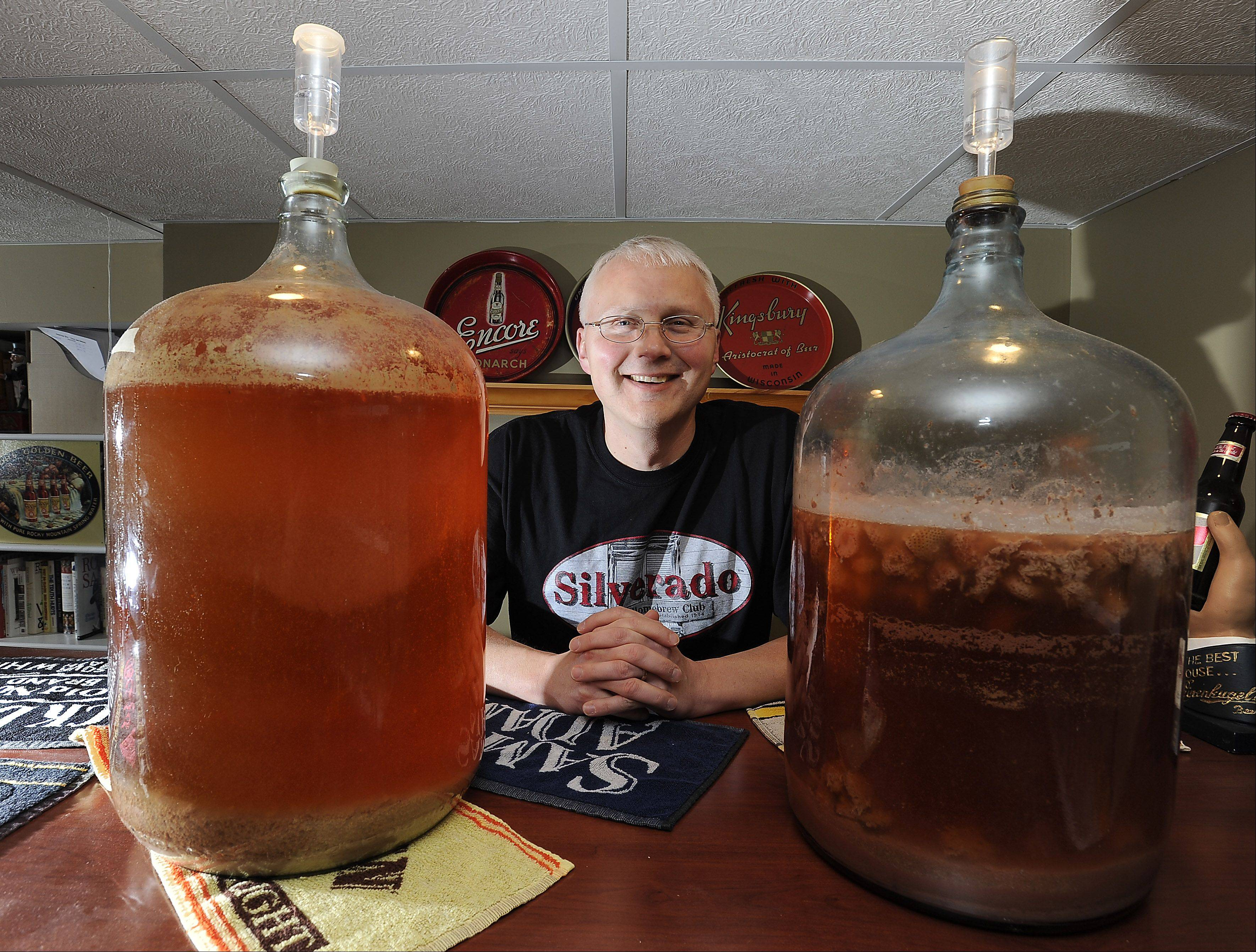Rich Placko brewed strawberry beer in his home in Elgin. He wanted to serve it at a Elgin fundraiser but discovered it might be illegal.