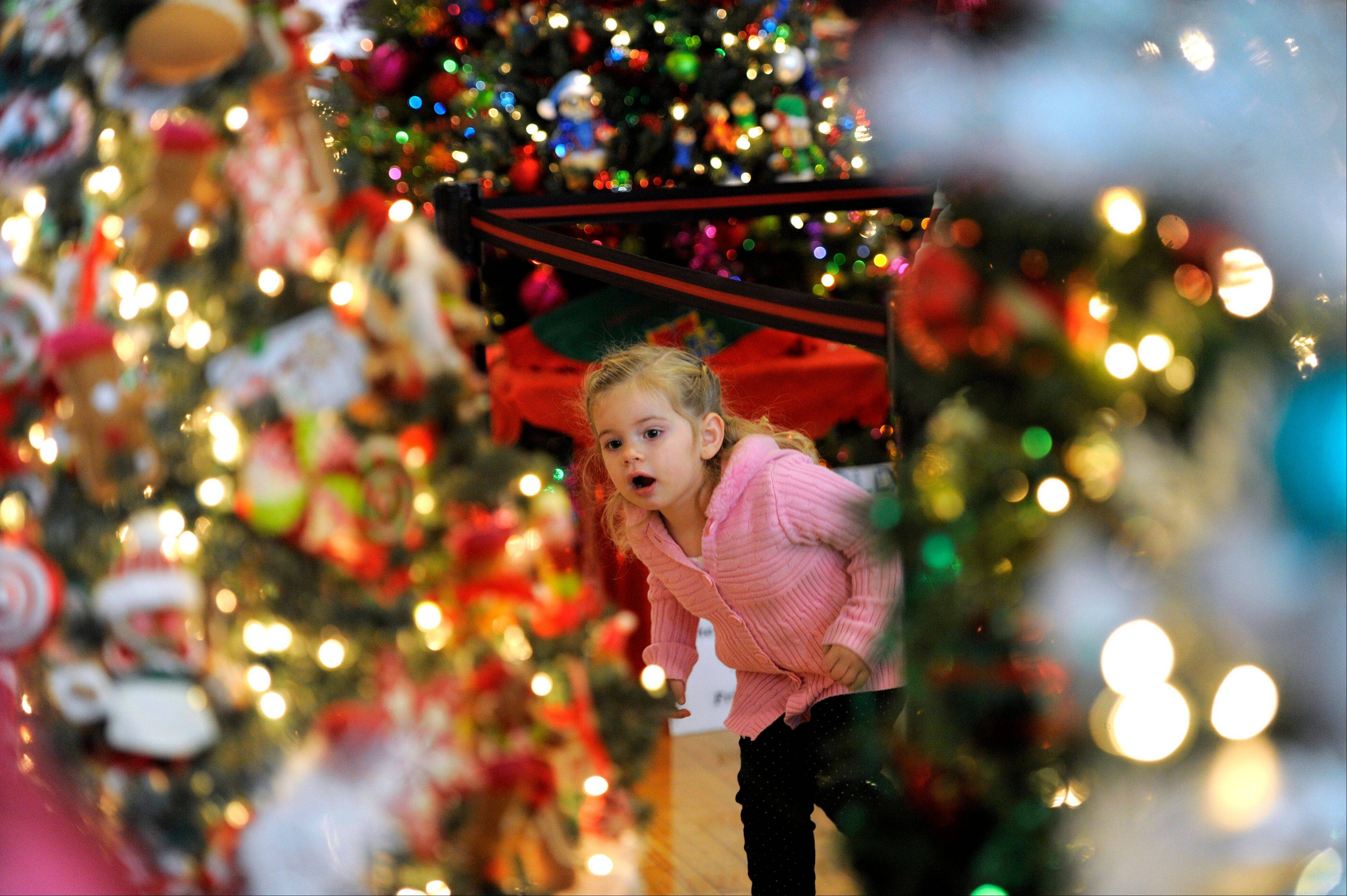 Carly Serepetti, checks out the decorated Christmas trees on display in Dearborn, Mich. With a little planning, a little help and a lot of resolve, holiday entertaining doesn't have to mean you're too stressed out to enjoy your own party.