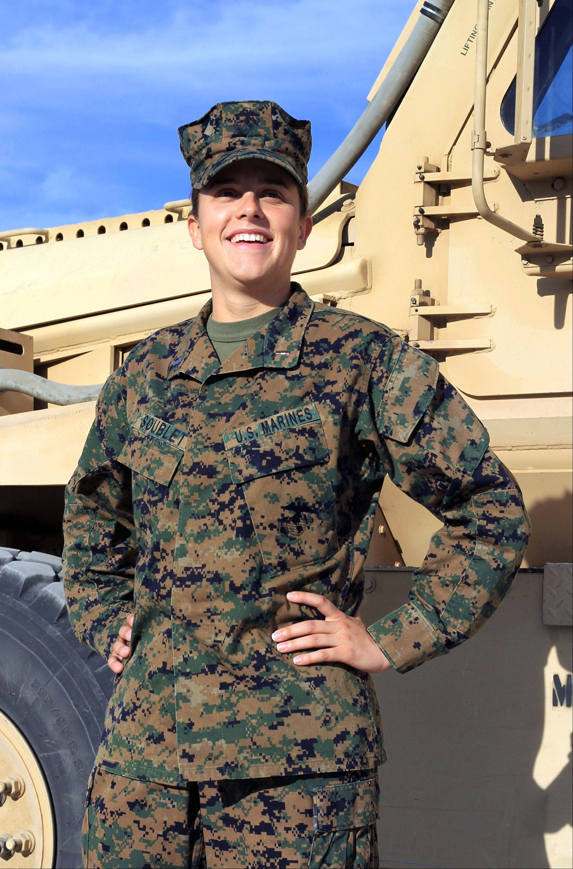 Lt. Brandy Soublet on the Marine base 29 Palms, in Southern California.