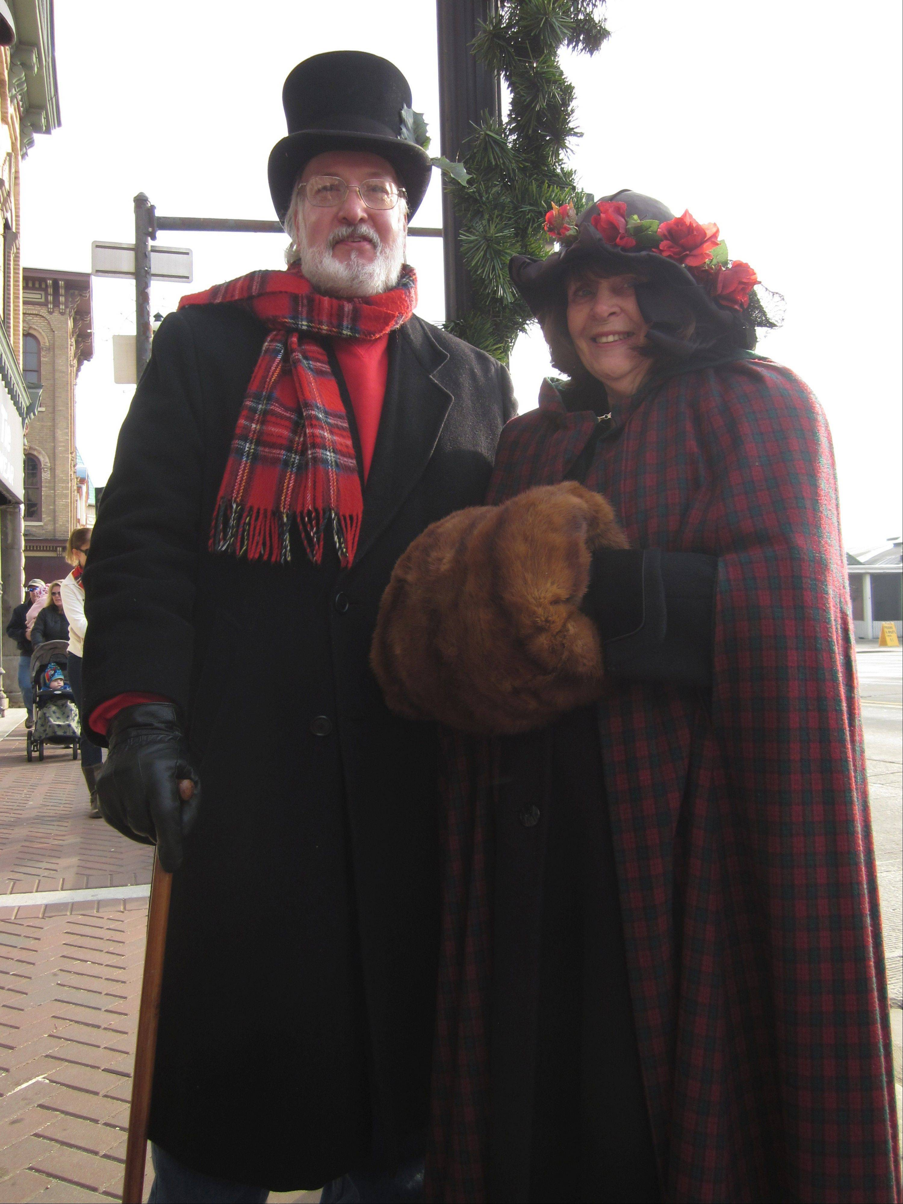 Mike and Ginny Buhrmann came dressed in period costumes for the annual Dickens in Dundee parade Saturday in West and East Dundee.