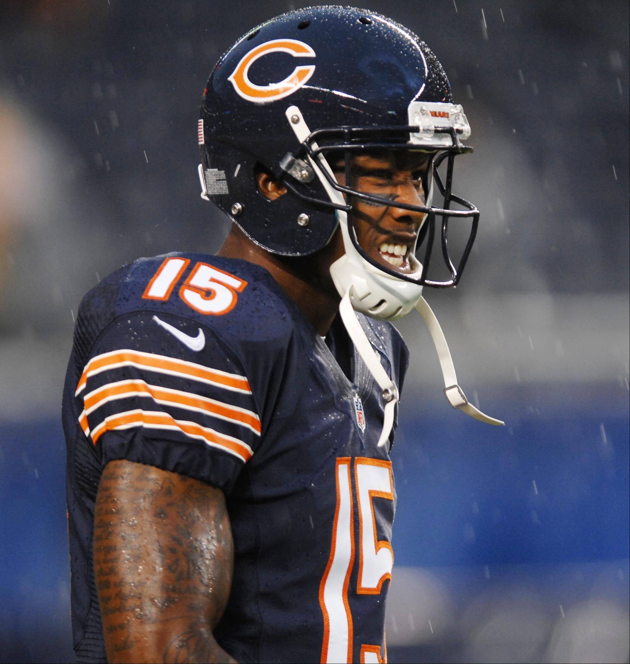 Bears wide receiver Brandon Marshall Thursday night before the first preseason game at Soldier Field in Chicago.