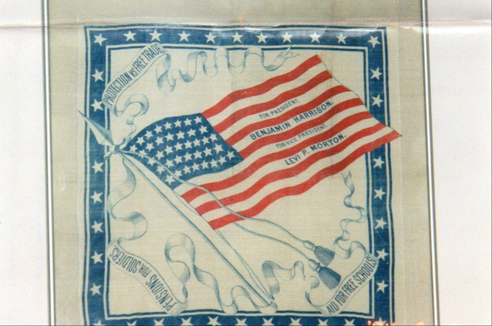 This silk handkerchief was made during Benjamin Harrison's successful run for the presidency in 1888.