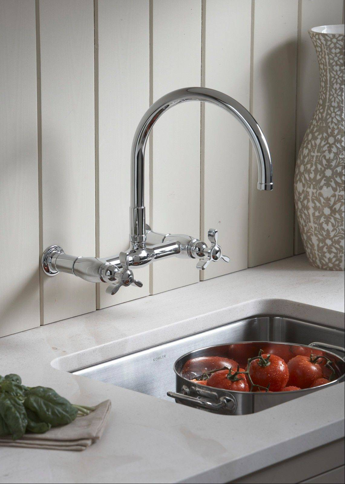 New bridge faucets are a modern take off the original design, and can be wall mounted or deck mounted right on the sink.