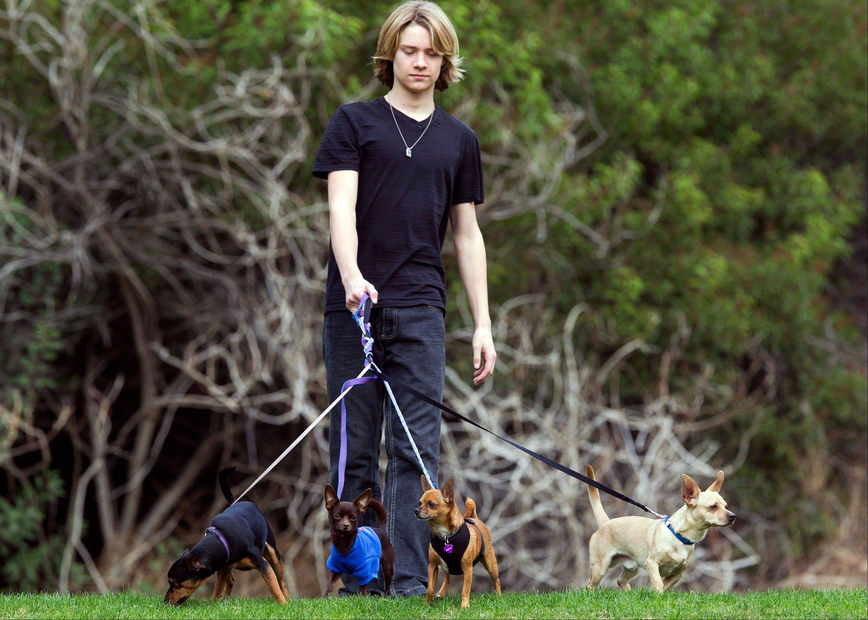 Actor and singer Lou Wegner, the founder of Kids Against Animal Cruelty, with his rescued dogs, from left, Kippy, Pearl, Draco and Henry in Burbank, Calif.