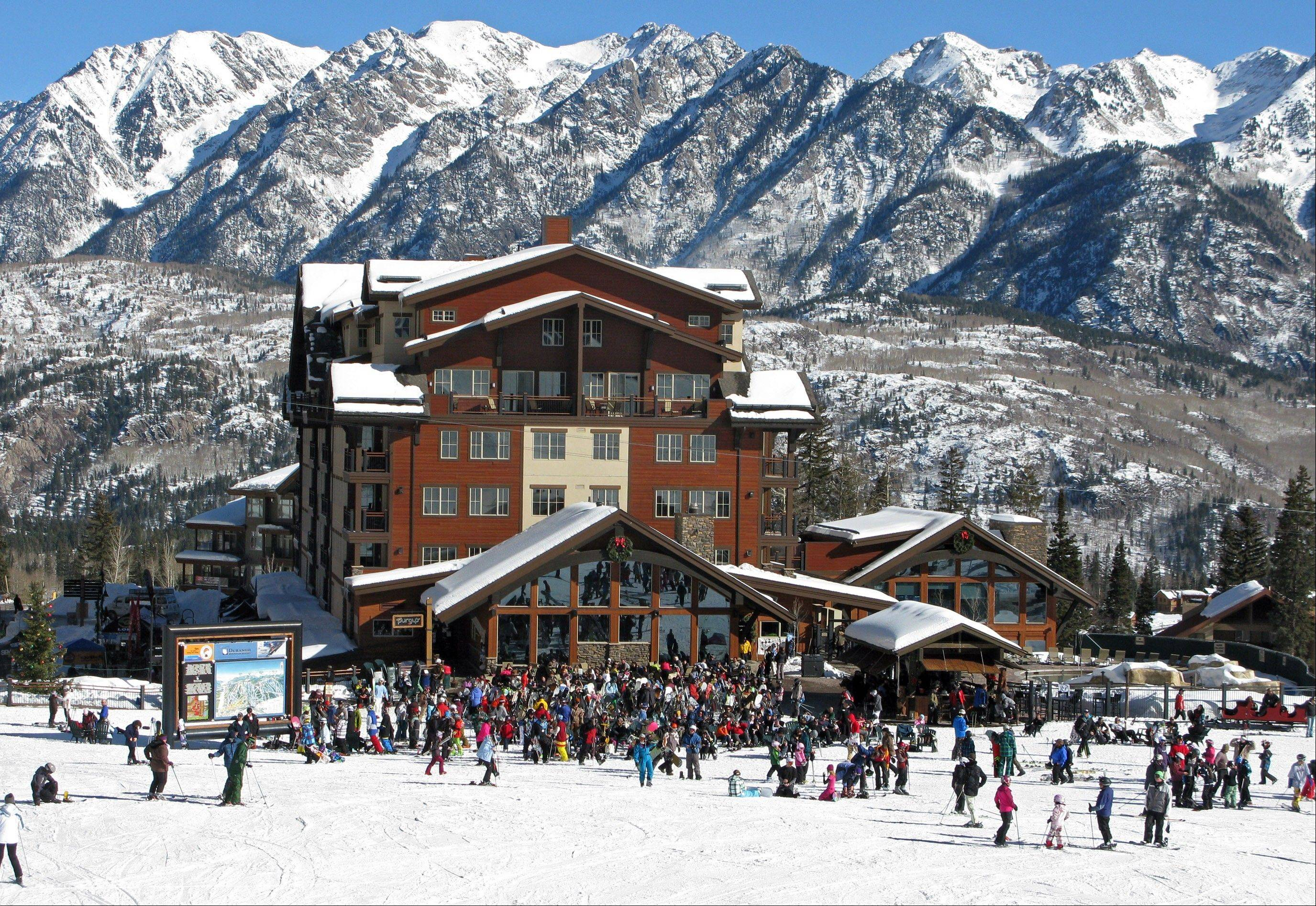 Skiers gather at the lodge at Purgatory Ski Area in Colorado. A disappointing snow year in much of Colorado ski country last season has the state's resorts and hotels hoping that snowboarders and skiers are anxious for a new season.