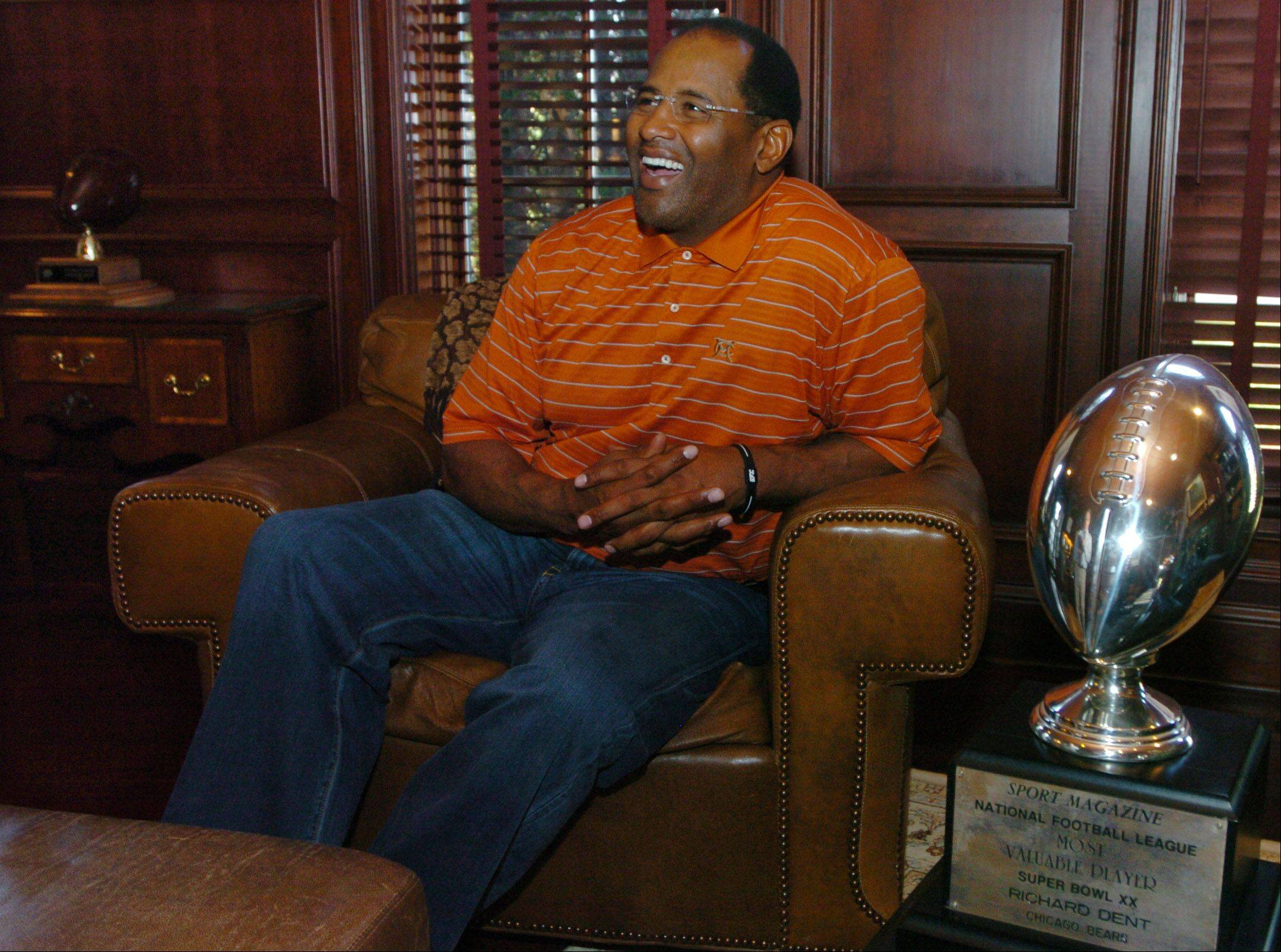 Relaxing in the trophy room of his Long Grove home, Richard Dent talks about his Bears career that saw him named MVP of the 1986 Super Bowl and earn a spot in the Pro Football Hall of Fame.