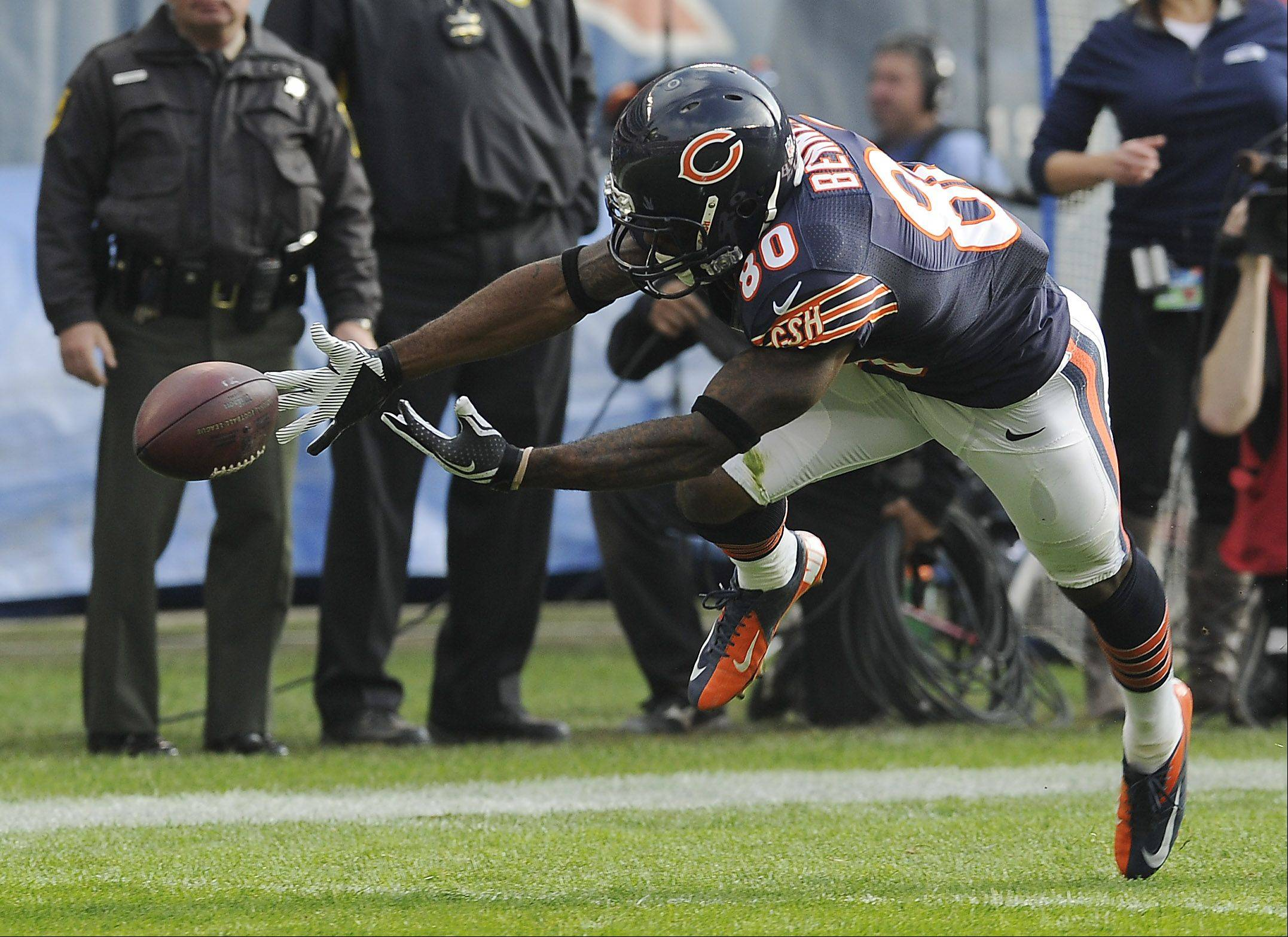 Bears Earl Bennett bobbles the ball in what would have been a touchdown in the first half at Soldier Field in Chicago.
