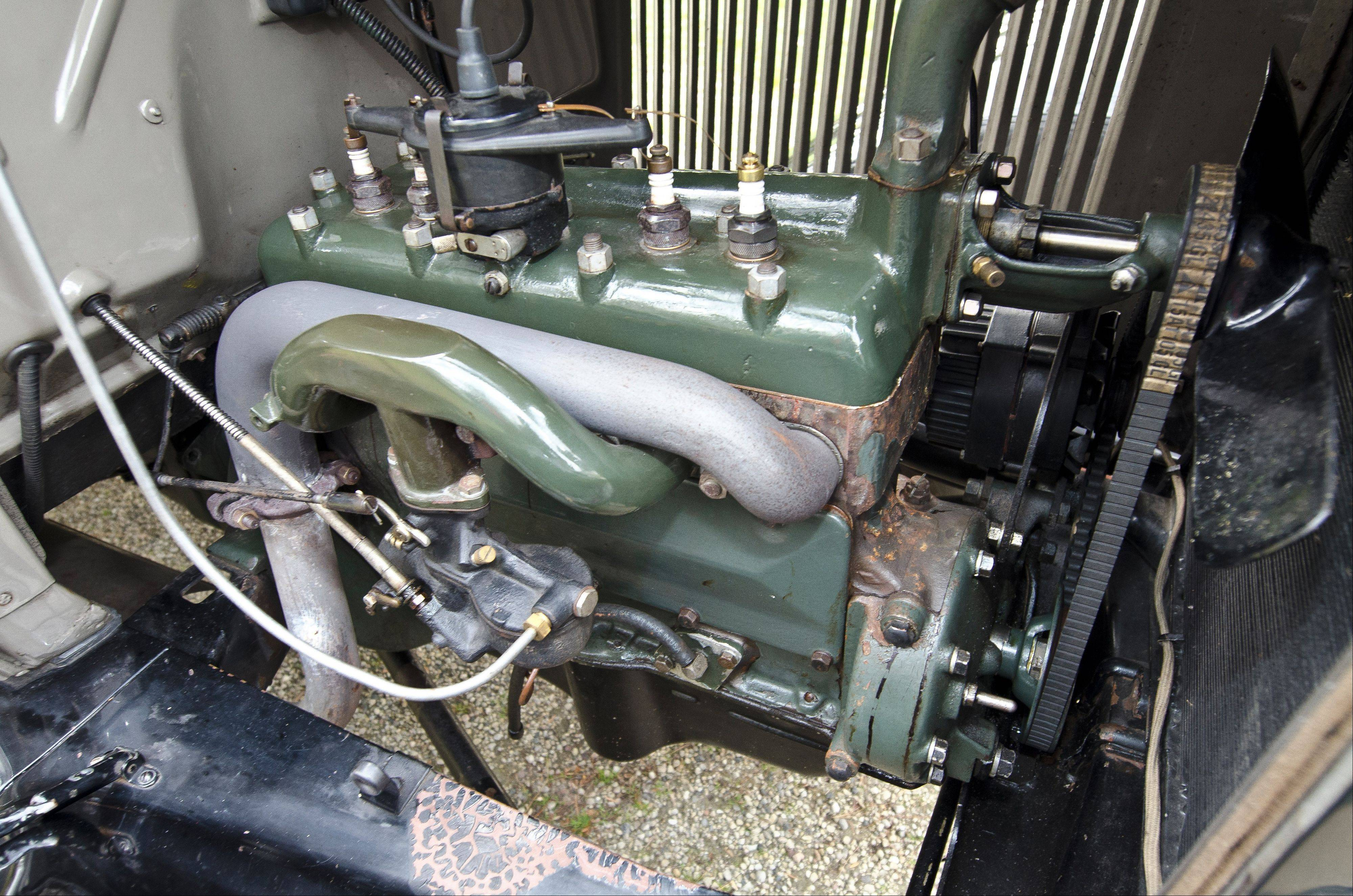 Engine of the 1930 Ford Model A sedan.