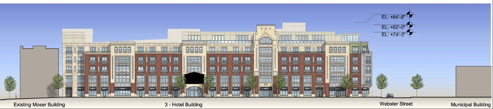 The proposed Water Street development in downtown Naperville will be back Tuesday before the city council.