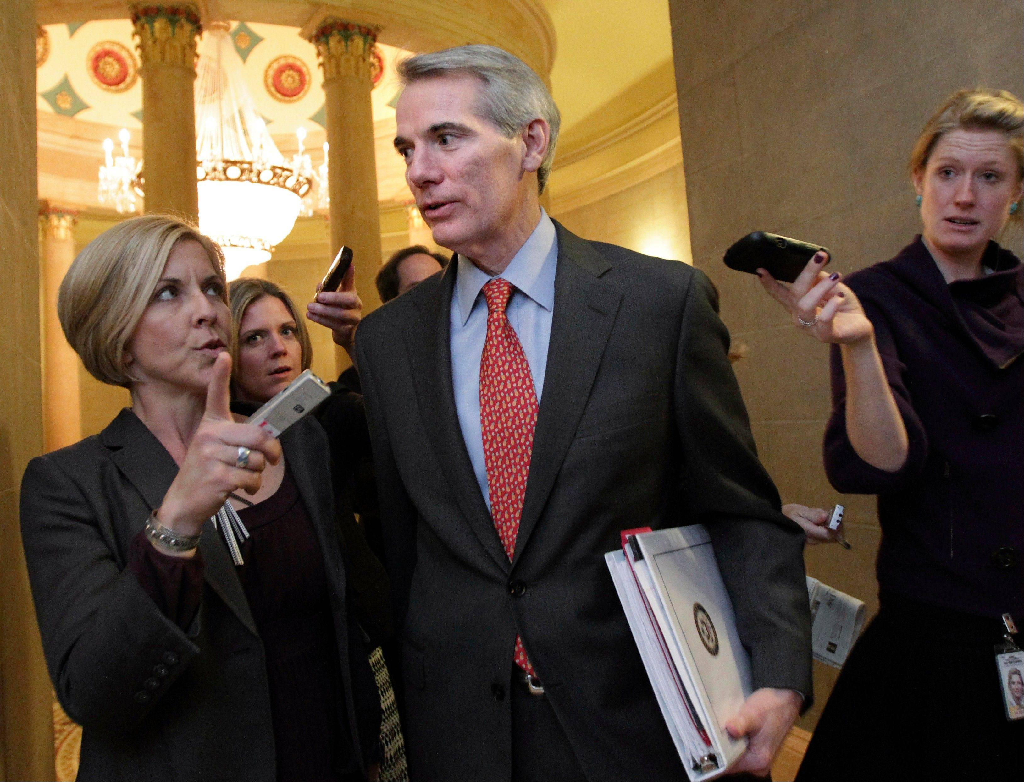 "Sen. Rob Portman, an Ohio Republican and a member of last year's failed Joint Select Committee on Deficit Reduction, said of current budget talks: ""All this stuff is hard. There's nothing easy here. But if everybody feels like everybody else is contributing, it makes it easier."""