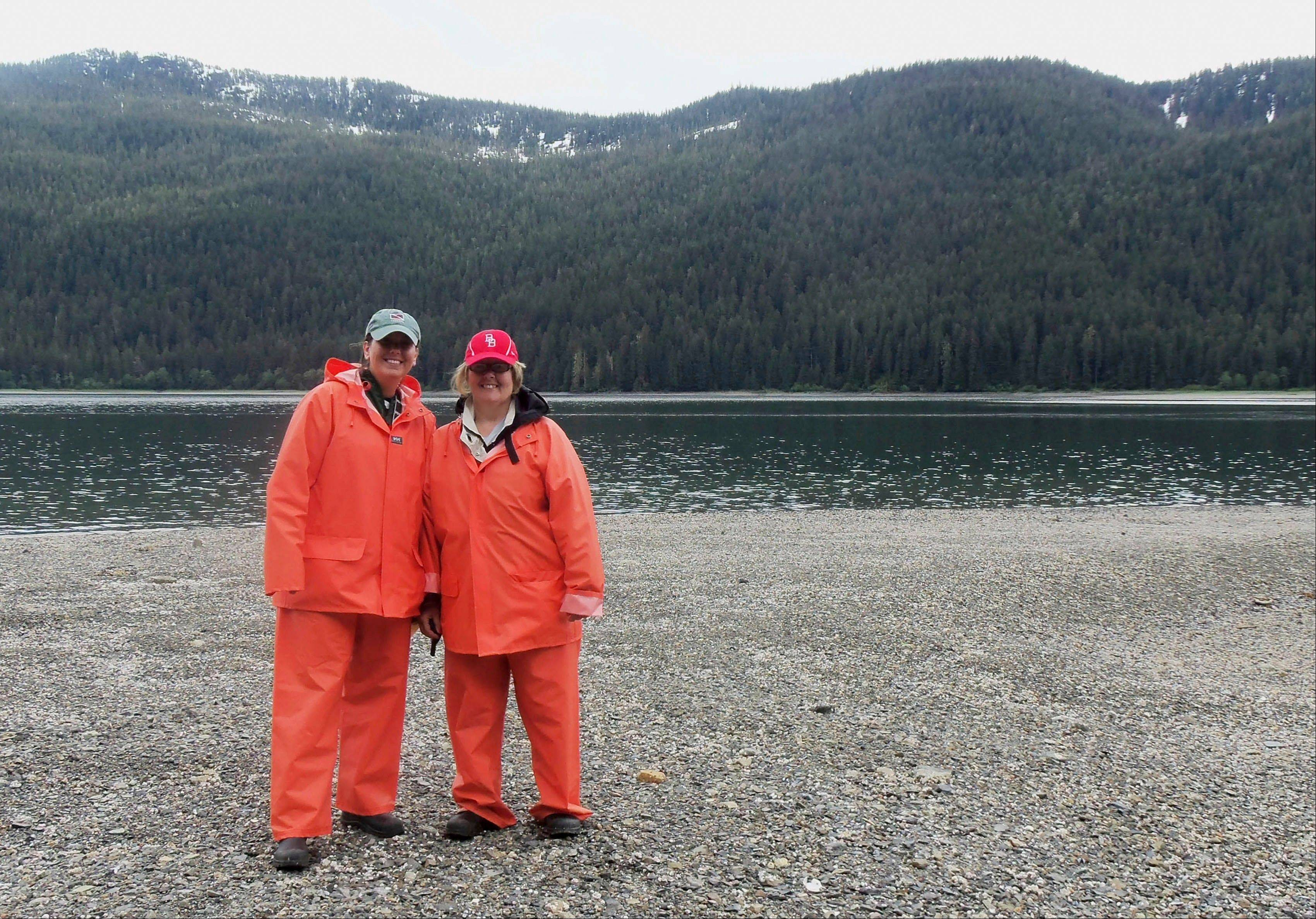 Teachers Kristi Mullinix, right, and Teri Moore, from South Shores School in Decatur, Ill., are seen on Admiralty Island, Alaska, during a wilderness trip funded with a grant from Archer Daniels Midland Co. The idea of the trip was to give teachers a firsthand experience with brown bears and provide material for lessons for their students.