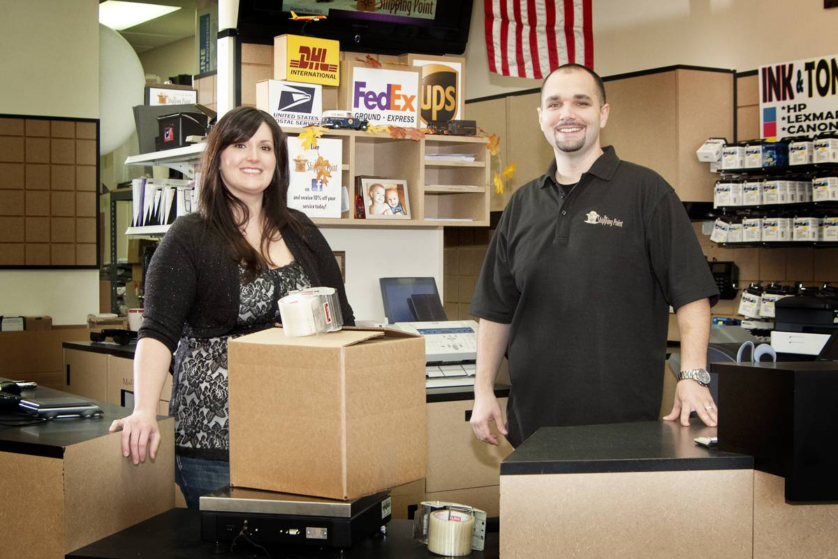 The SHIPPING POINT owners.  Siblings in the family-owned Gurnee business...Lauren & Jim LoMonaco