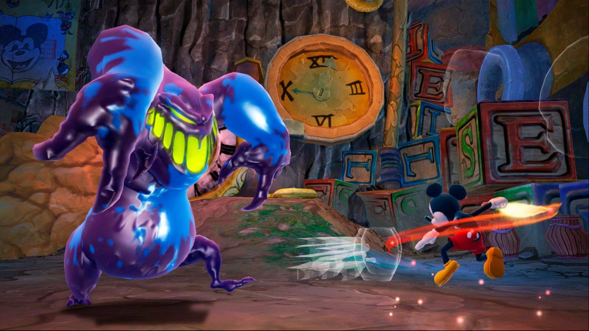 "Mickey Mouse uses a paintbrush to fight a monster in ""Epic Mickey 2: The Power of Two."""