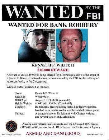 Authorities say Kenneth F. White II, 34, robbed a bank in Glenview on Monday, as well as five other Cook County banks since Oct. 26.