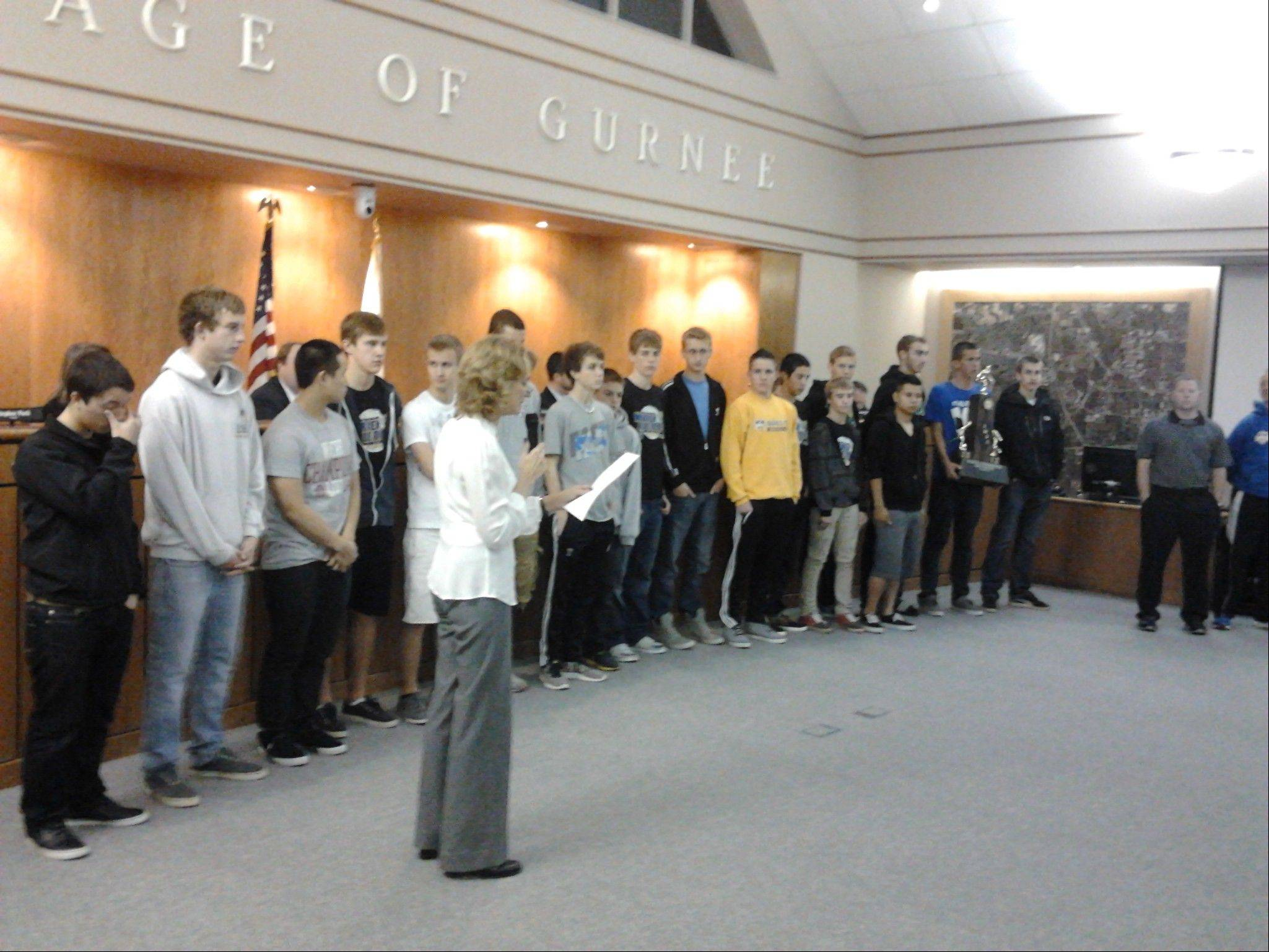 Gurnee Mayor Kristina Kovarik offered congratulations to Warren Township High School�s first state champion boys soccer team during a village board meeting Monday evening.