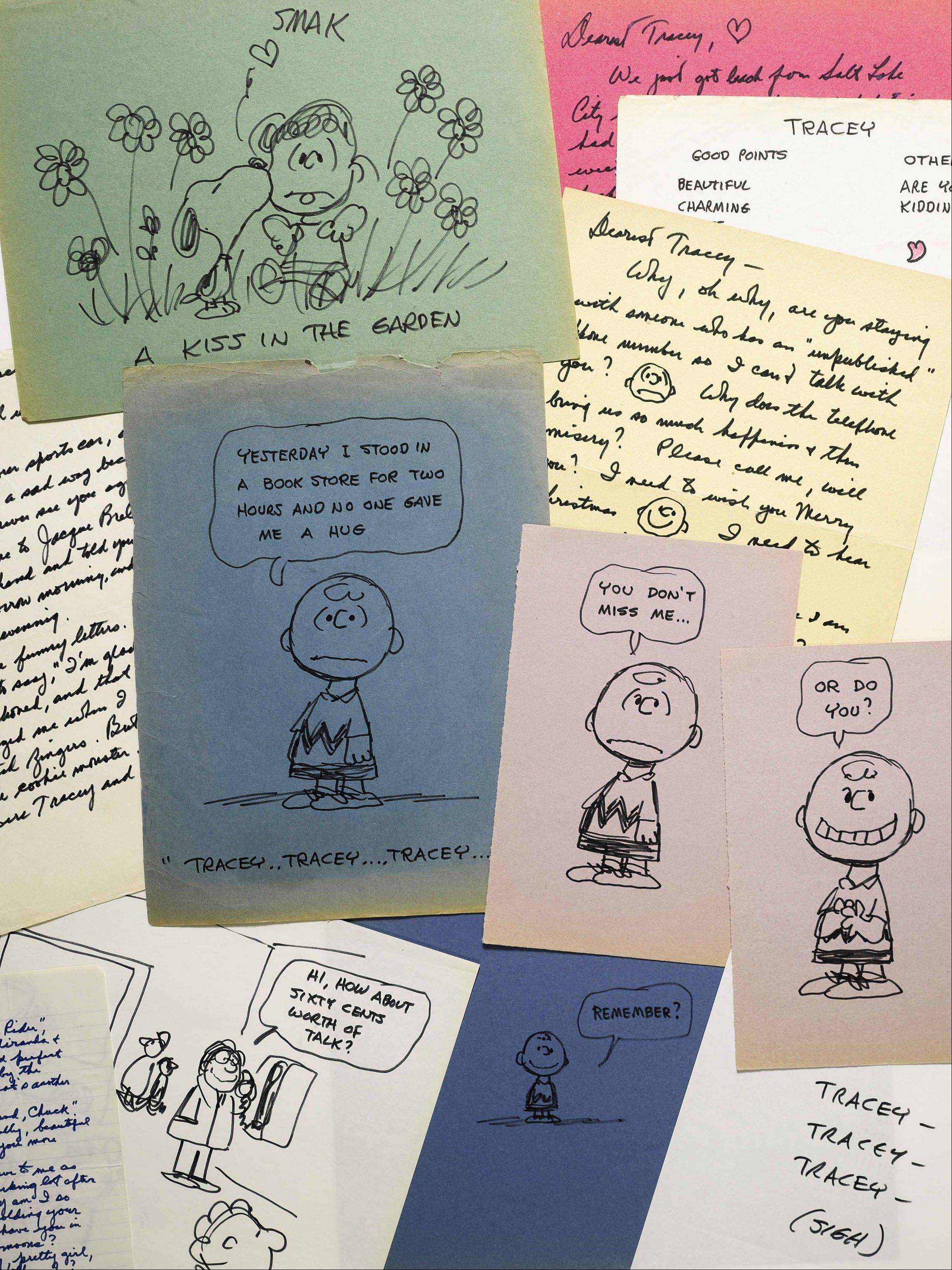 Some of the romantic letters and drawings the late Peanuts creator Charles Schulz sent to a young woman 23 years his junior, who infatuated him. The love notes from 1970-1971 are being offered for sale at Sotheby's in New York by the family of Tracey Claudius.