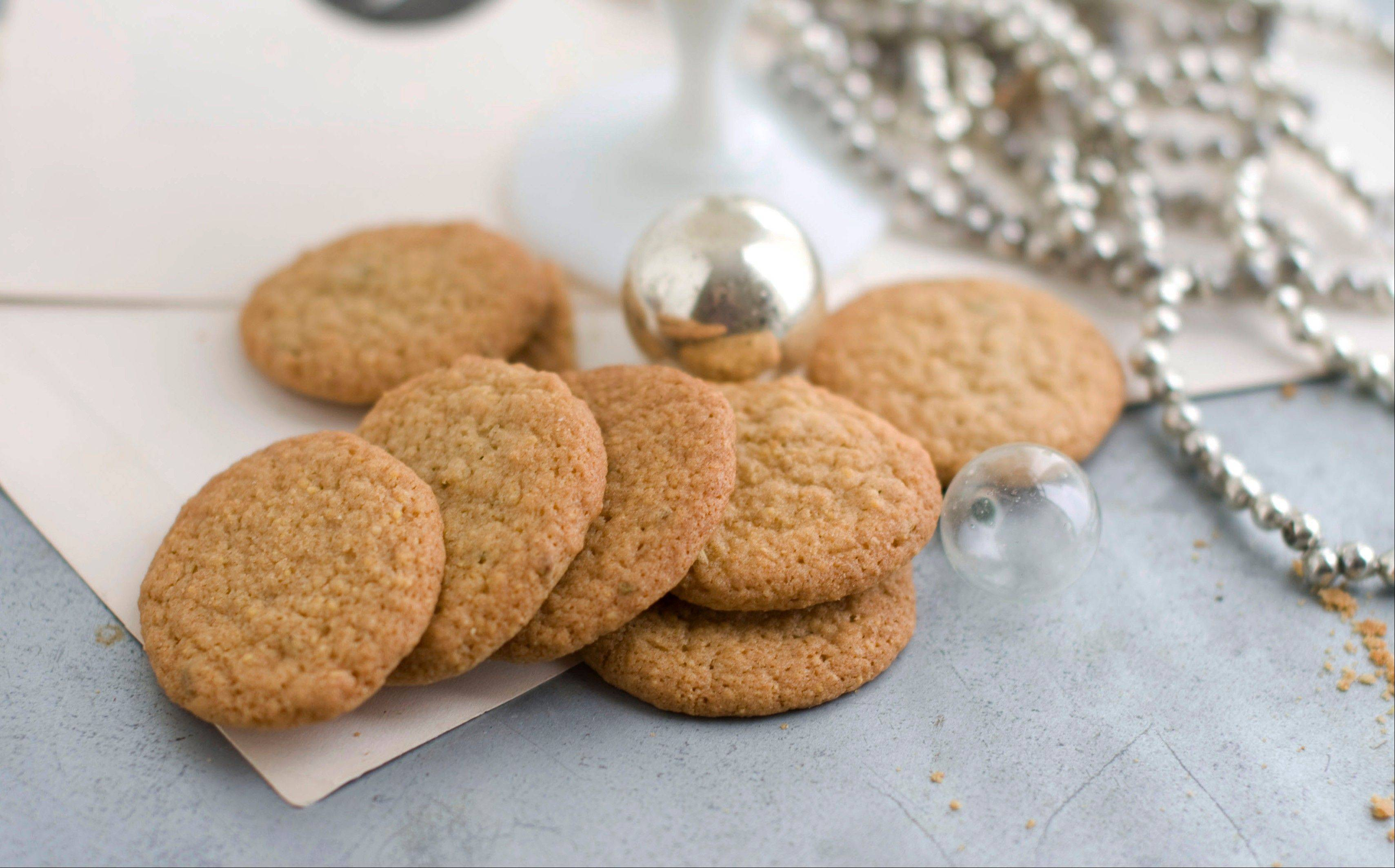Fennel Cornmeal Wafers are delicate in both texture and sweetness. They would go great with a glass of dessert wine, or as an accompaniment to a cheese course.