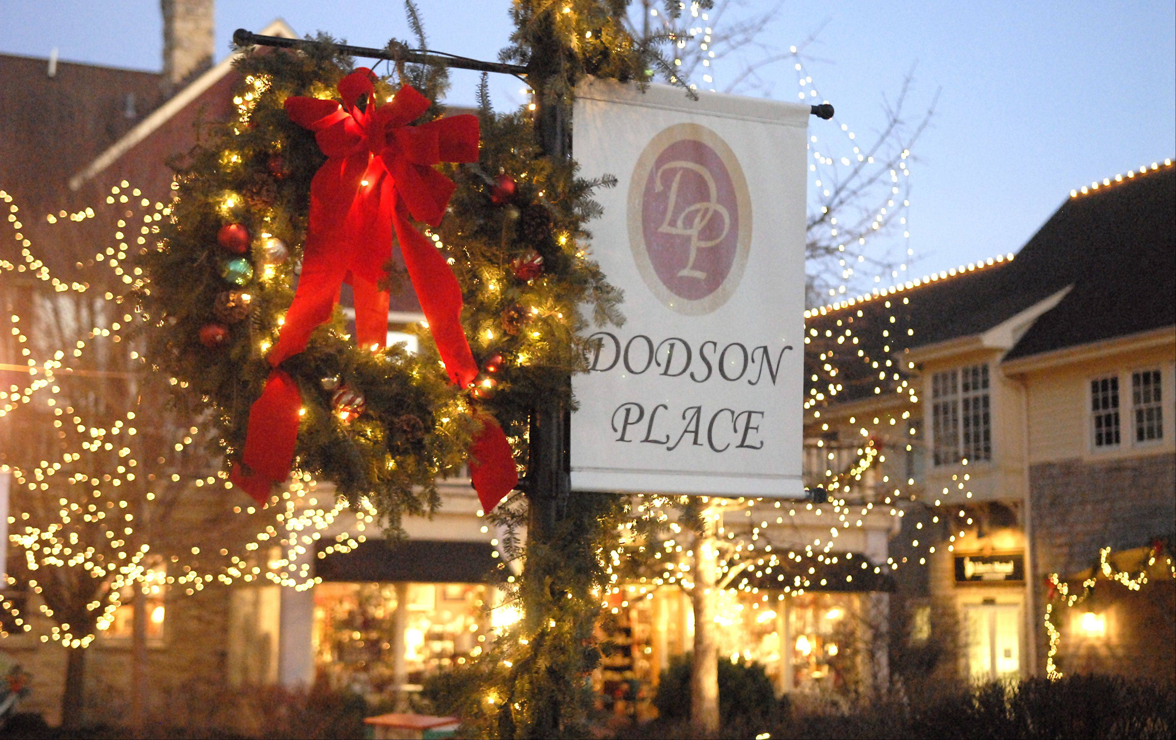 It's a bright, festive environment during the holidays at Dodson Place in downtown Geneva.