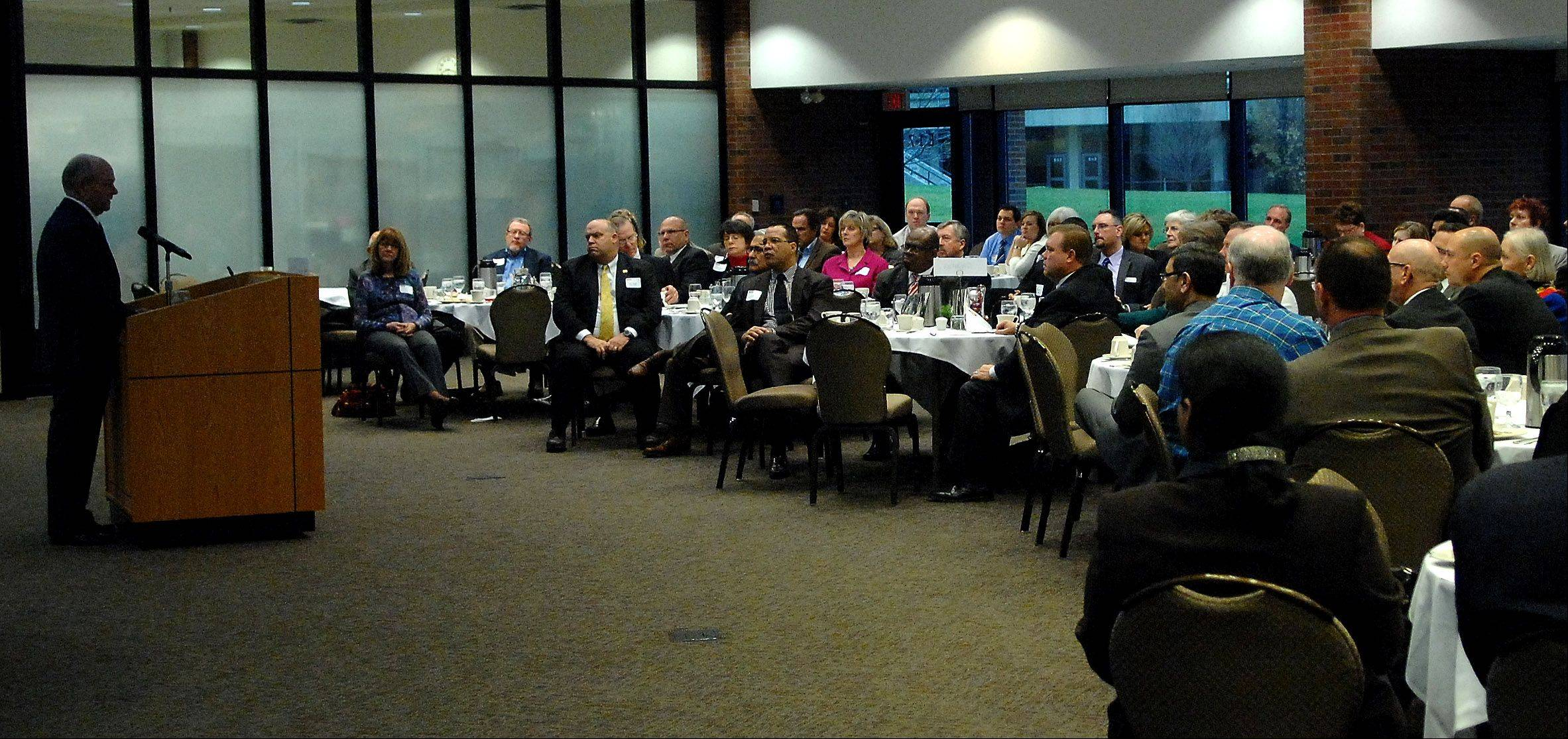 Mayor David Kaptain addresses members of the business community at the Elgin Area Chamber of Commerce's annual state of the city breakfast Tuesday at Elgin Community College.