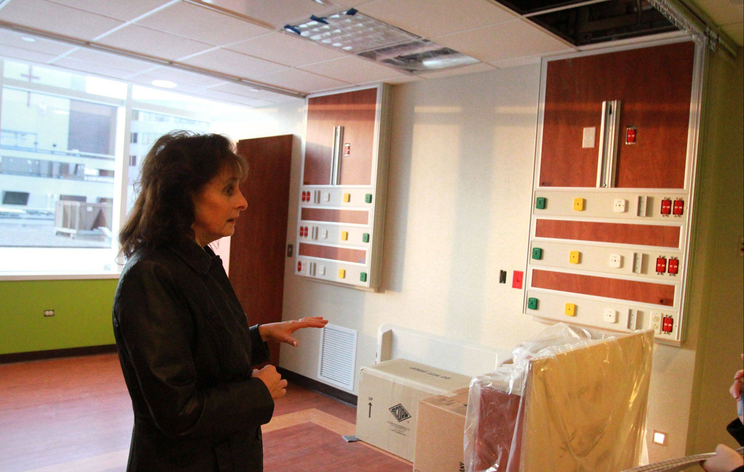 Joan Cappelletti, executive director of nursing at St. Alexius Medical Center, talks about the large rooms in the new Alexian Brothers Women and Children's Hospital in Hoffman Estates.