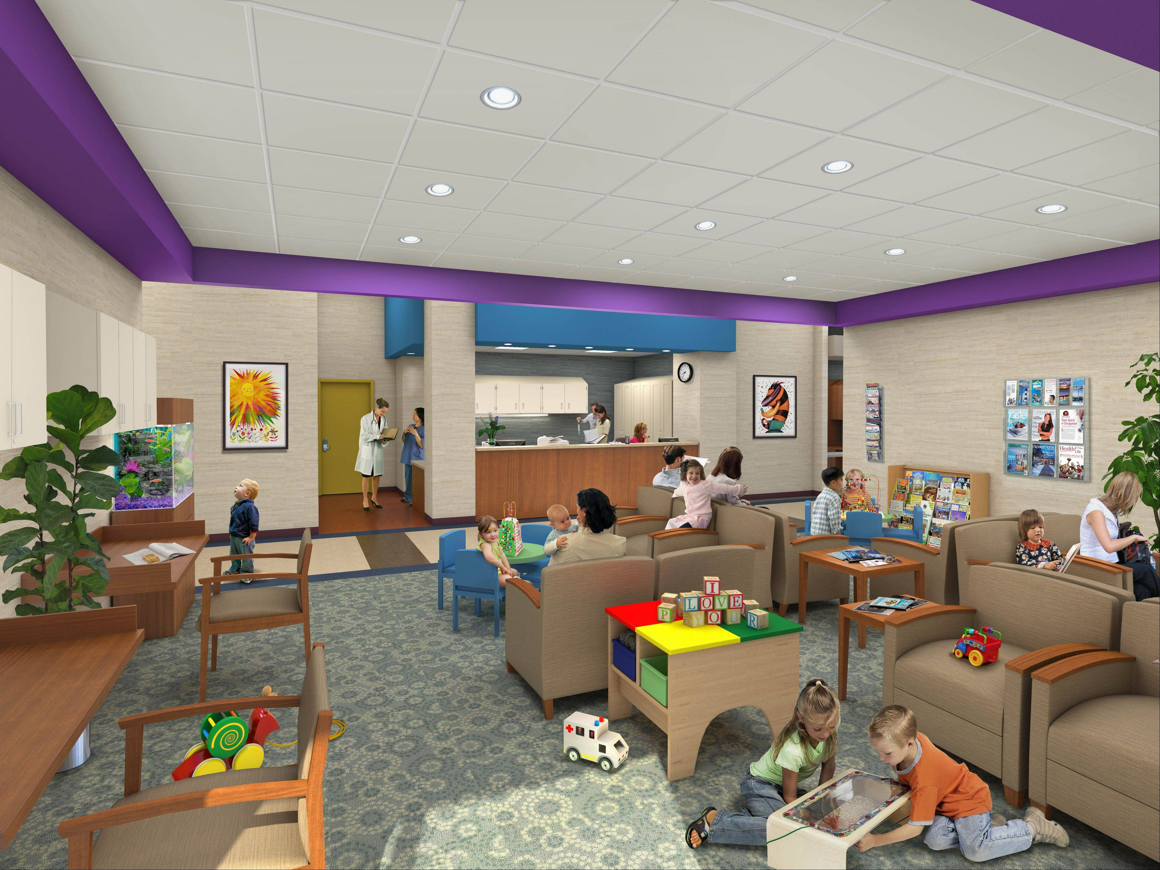 This is a rendering of a waiting room in the new Alexian Brothers Women and Children's Hospital in Hoffman Estates.