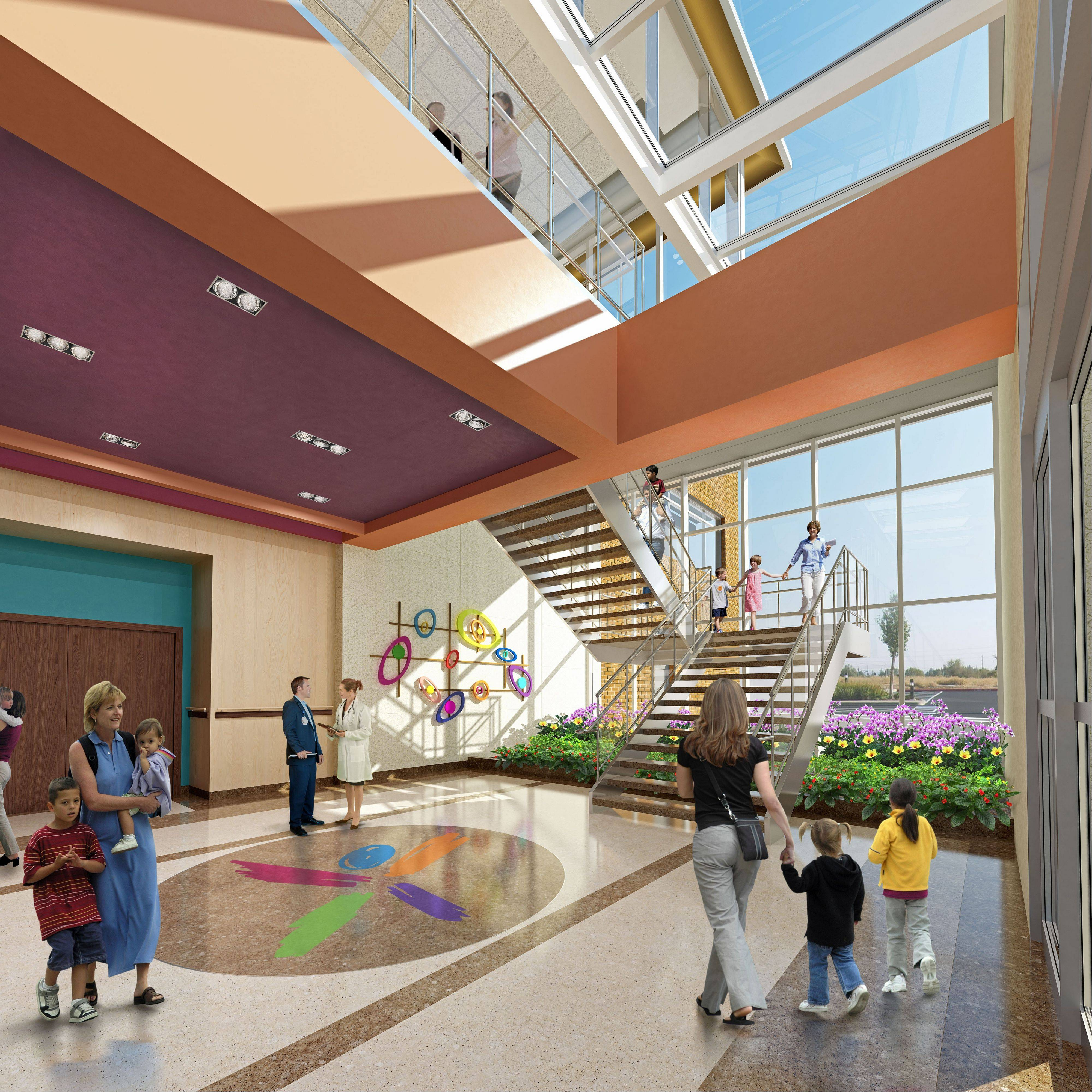 This is a rendering of the lobby of the new Alexian Brothers Women and Children's Hospital in Hoffman Estates.