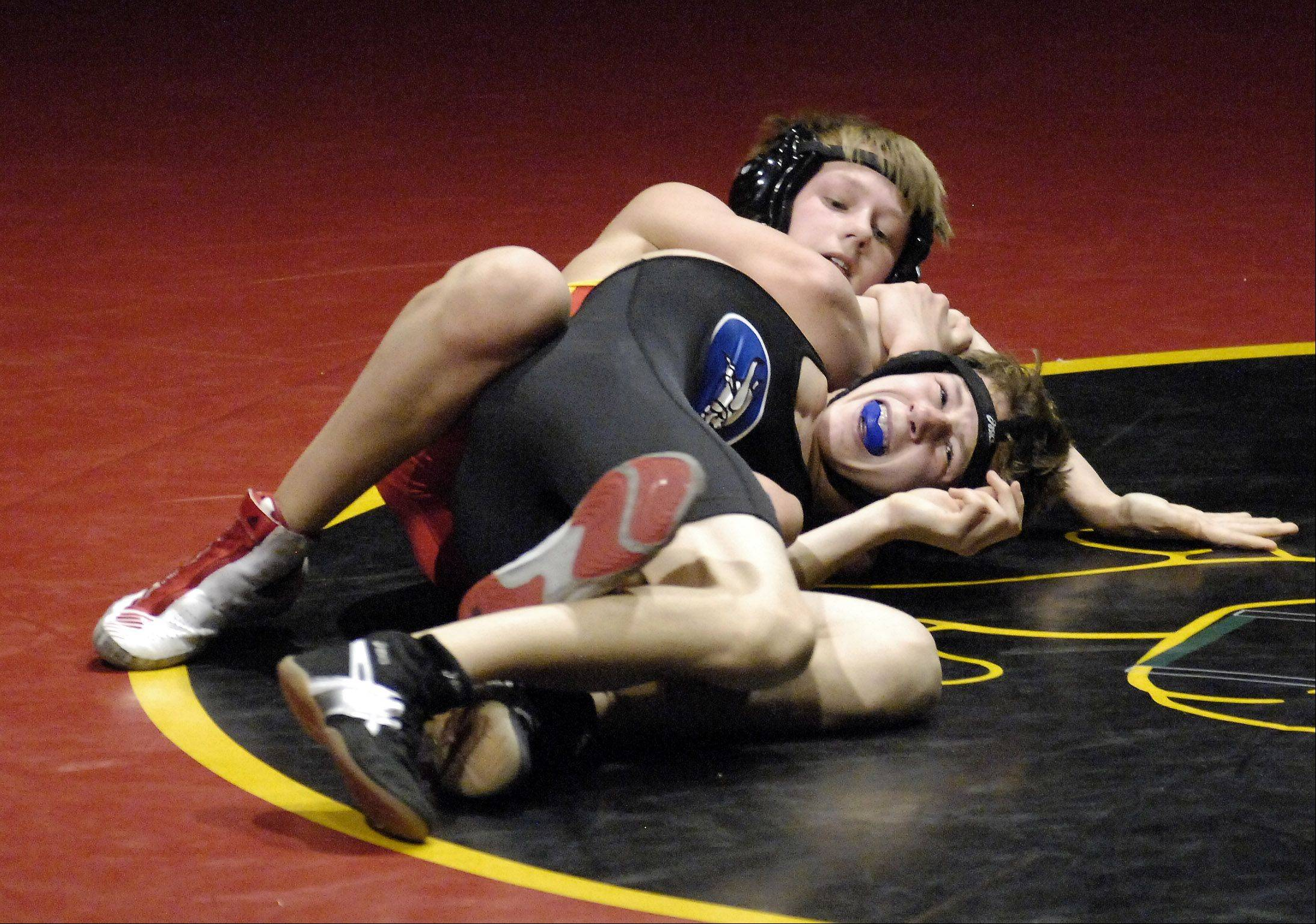 Batavia's Luke Schulz defeated Geneva's Julian Dessens at 113-pound match Thursday in Batavia.