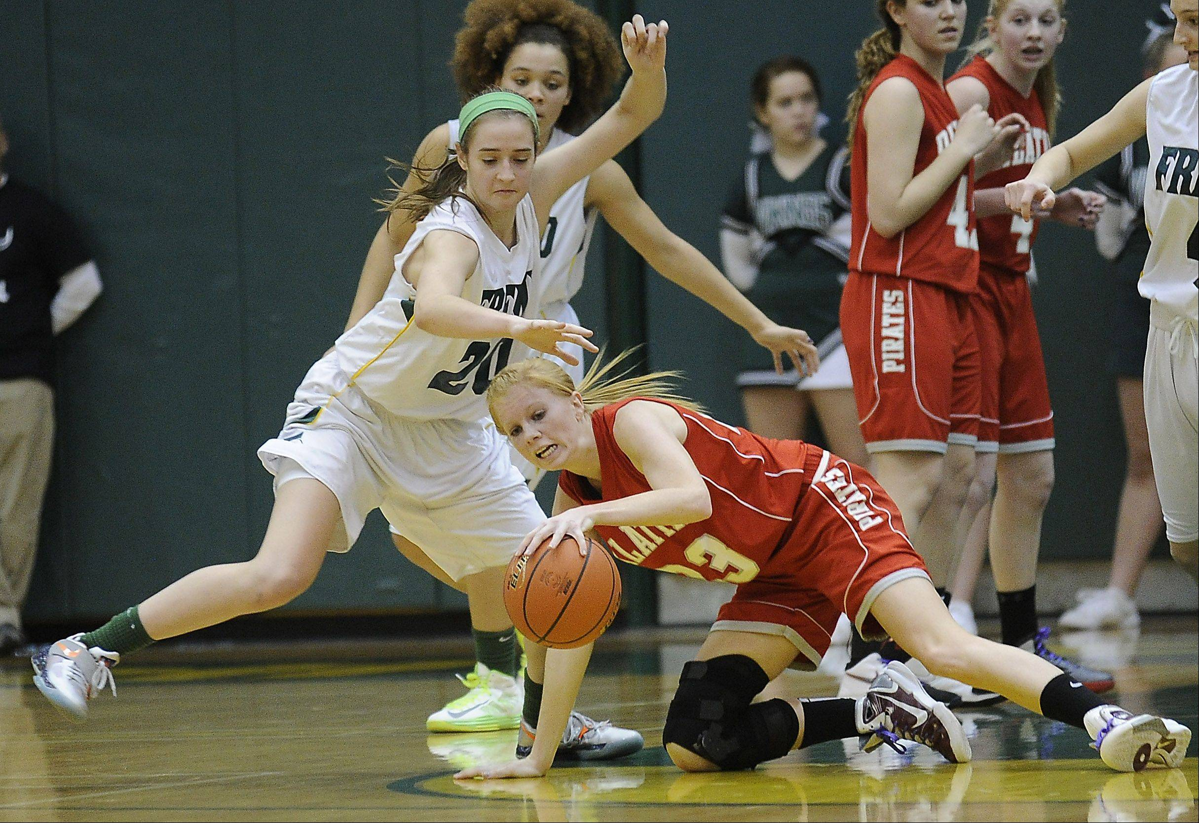 Palatine's McKenzie Wiedemann struggles to control the ball despite pressure from Fremd's defense Friday.
