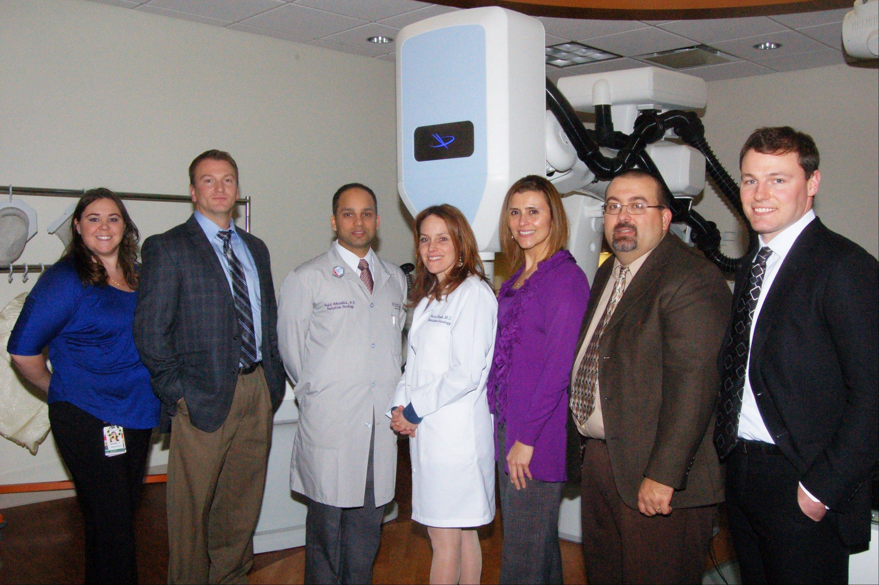 CyberKnife staff, from left, are: Jennifer Villa, Matt Lees, Dr. Majid Mohiuddin, Dr. Arica Hirsch, Linda Green, Scott Withrow and Tony Simon.