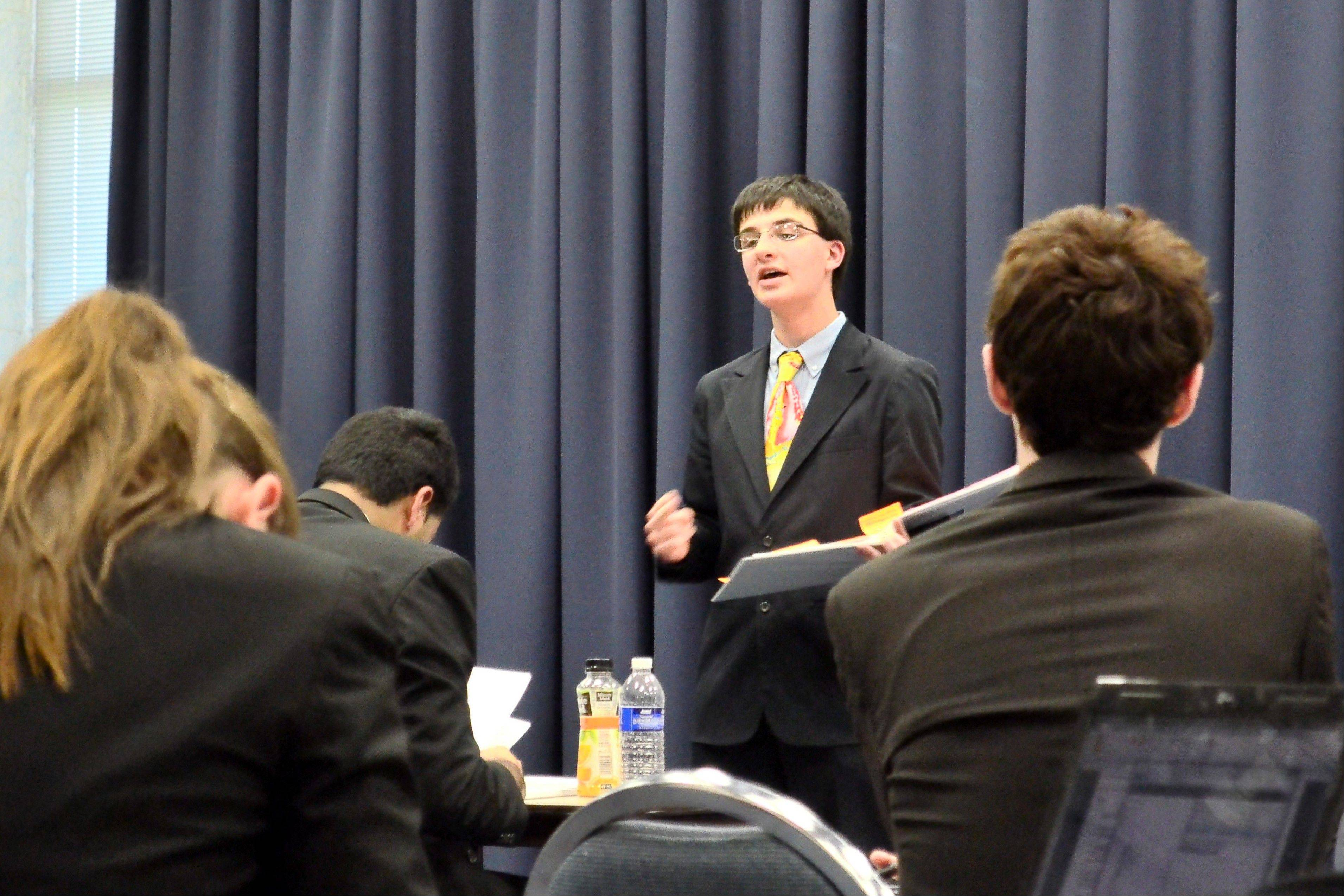 Hersey junior Ben Goldberg competes at the Glenbrooks National Debate Tournament.