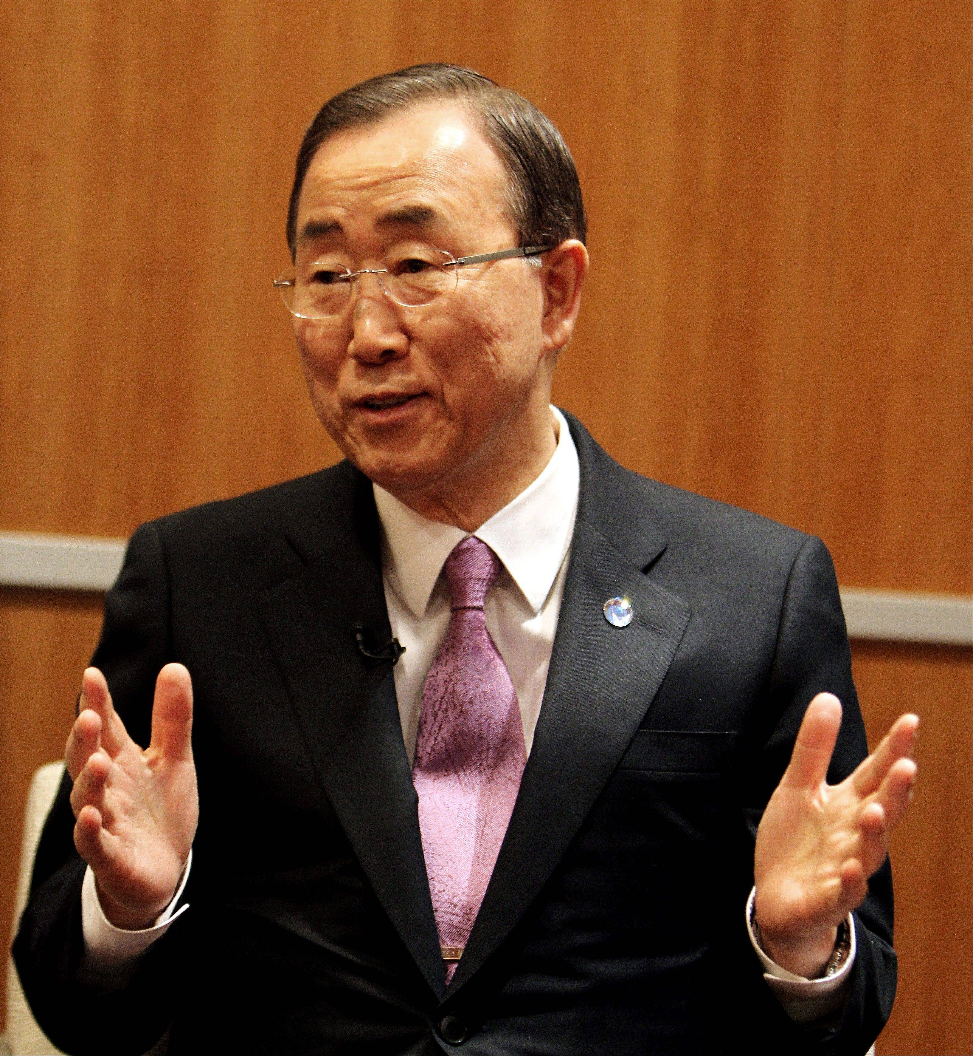 U.N. Secretary-General Ban Ki-moon speaks to a journalist Wednesday during an exclusive interview with The Associated Press. Ban has hinted that he would not favor an asylum deal for Syrian President Bashir Assad as a way to end the country�s civil war.
