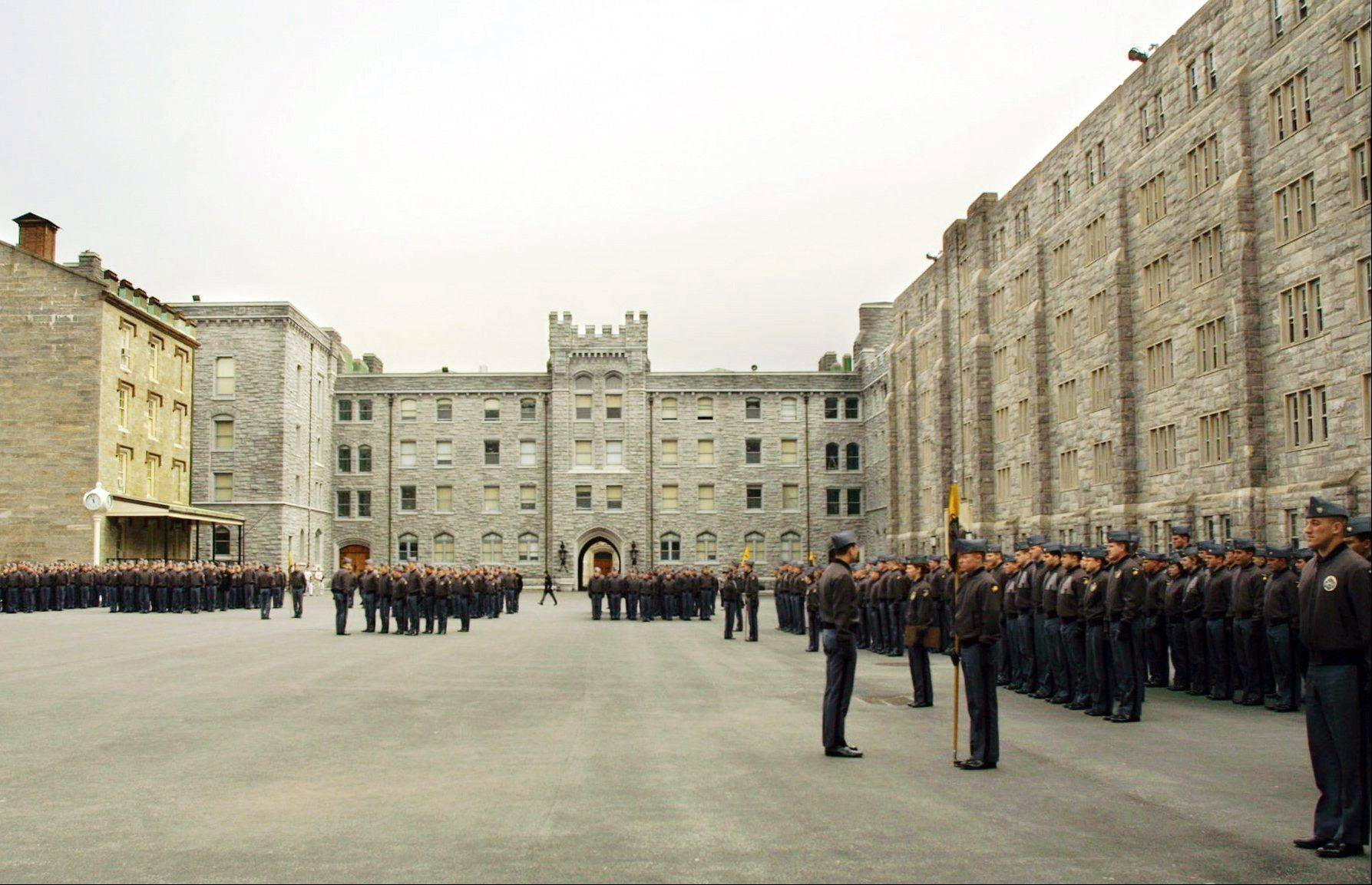 United States Military Academy cadets stand in formation at the United States Military Academy at West Point, N.Y. Blake Page, a cadet quitting West Point less than six months before graduation, says he could no longer be part of a culture that promotes prayers and religious activities and disrespects nonreligious cadets.