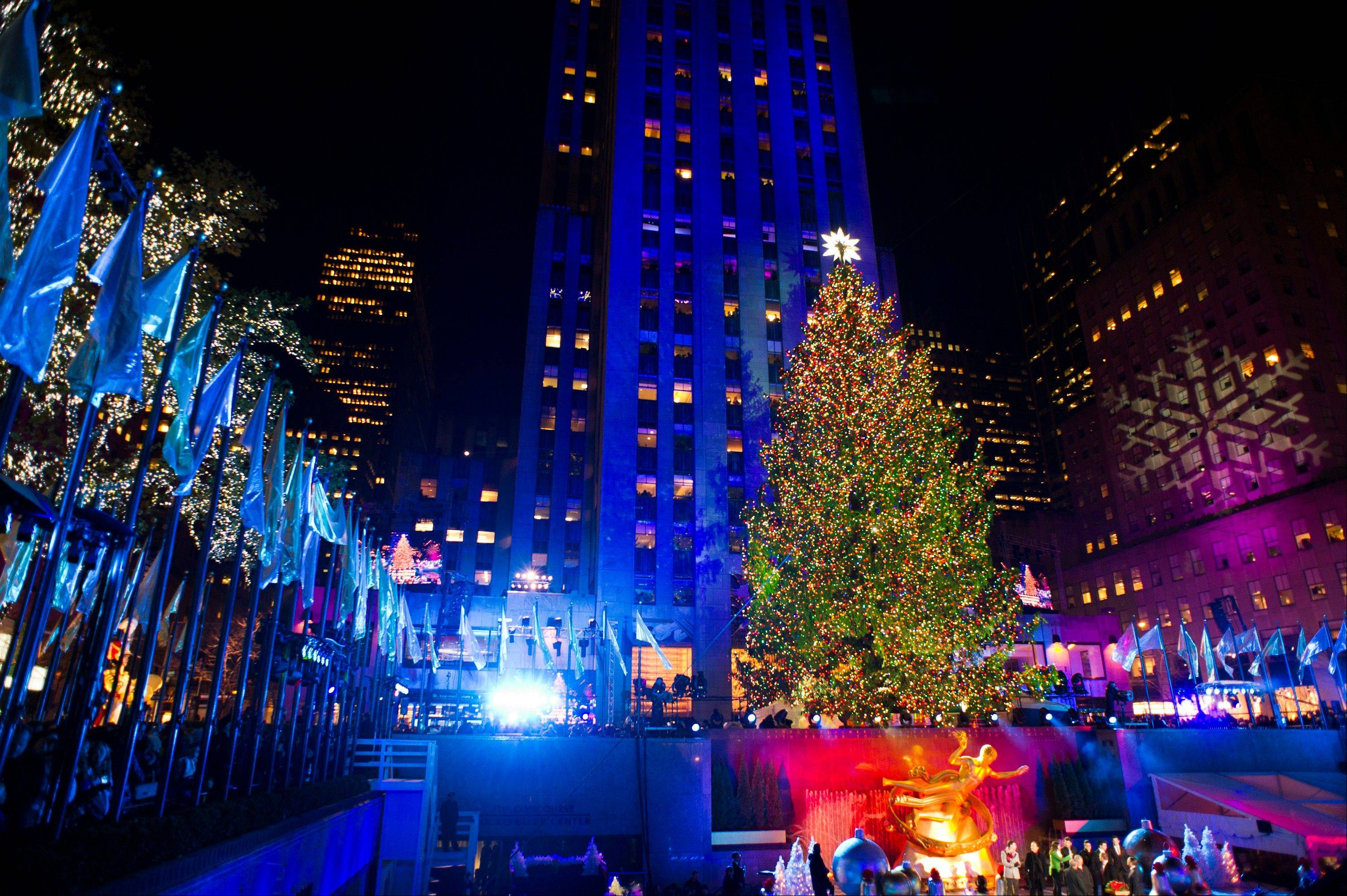 The 80-foot-tall Rockefeller Center Christmas tree is lit using 45,000 energy efficient LED lights in New York.