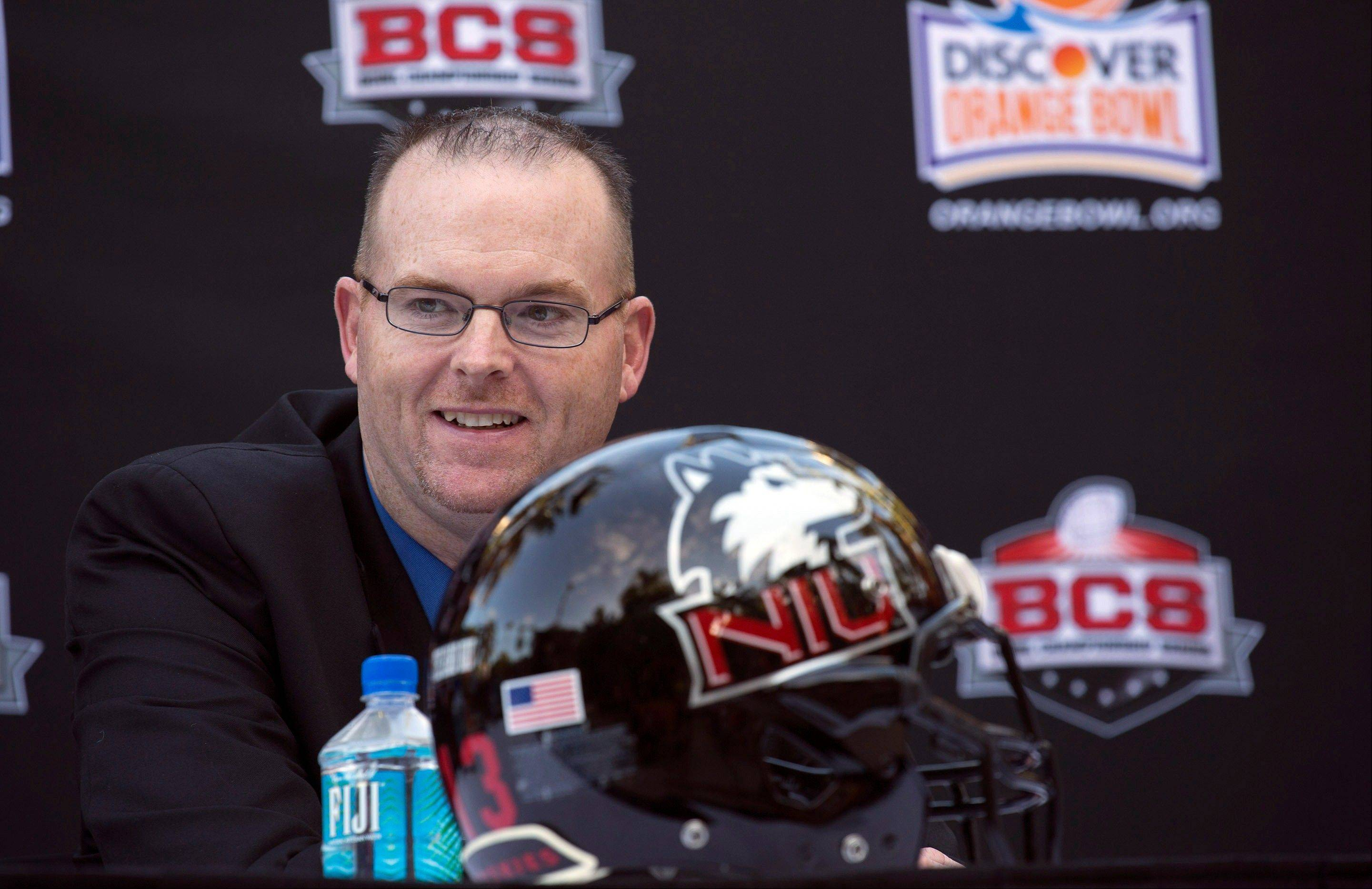 Northern Illinois coach Rod Carey talks to the media during an NCAA college football Orange Bowl press conference Wednesday, Dec. 5, 2012, in Hollywood, Fla. Northern Illinois takes on Florida State on Jan. 1, 2013 in Miami. Northern Illinois has promoted Carey from offensive coordinator afterDave Doeren left for North Carolina State.