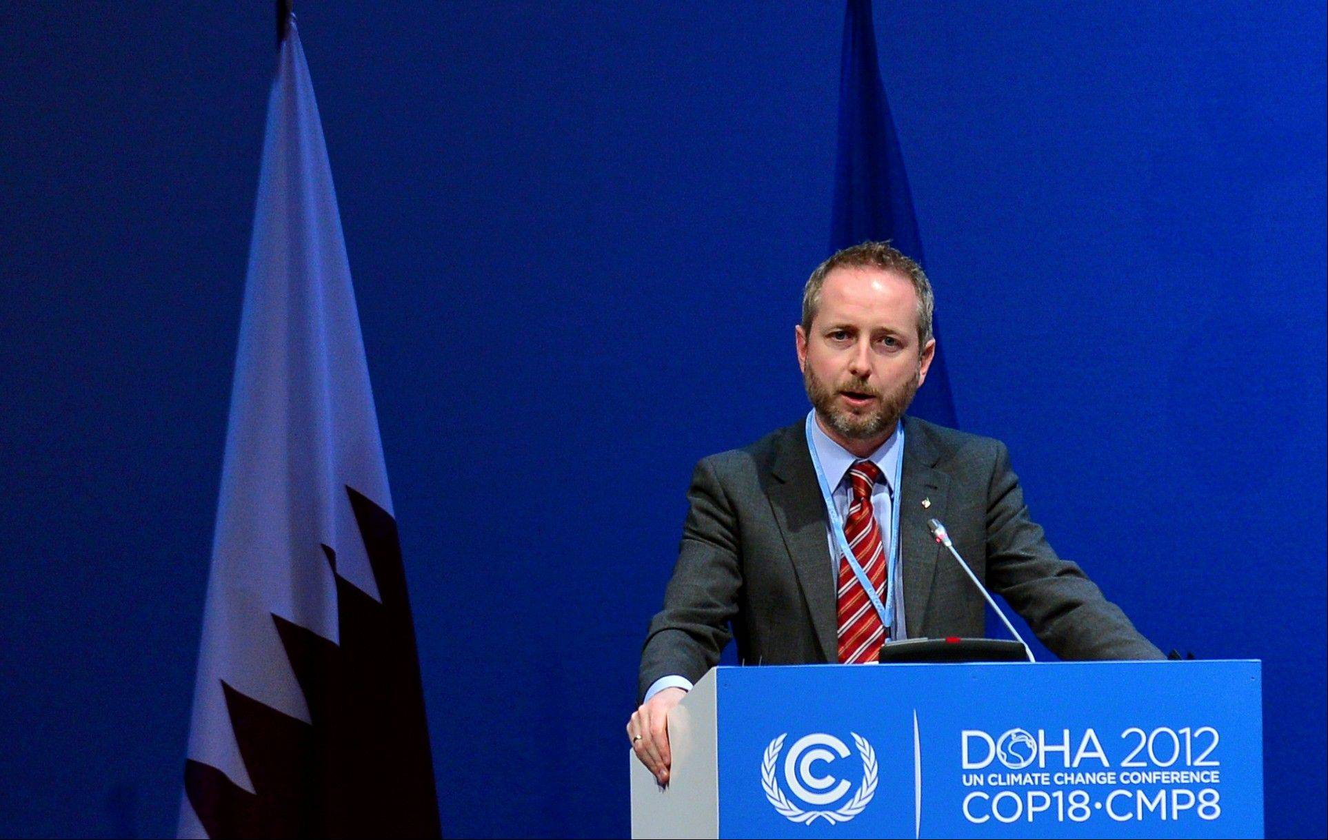 Norwegian Environmental Minister B�rd Vegar Solhjell addresses delegates Wednesday at the U.N. climate talks in Doha. The delegates are aiming to seal an interim pact by December 7 on reducing Earth-warming greenhouse gas emissions.