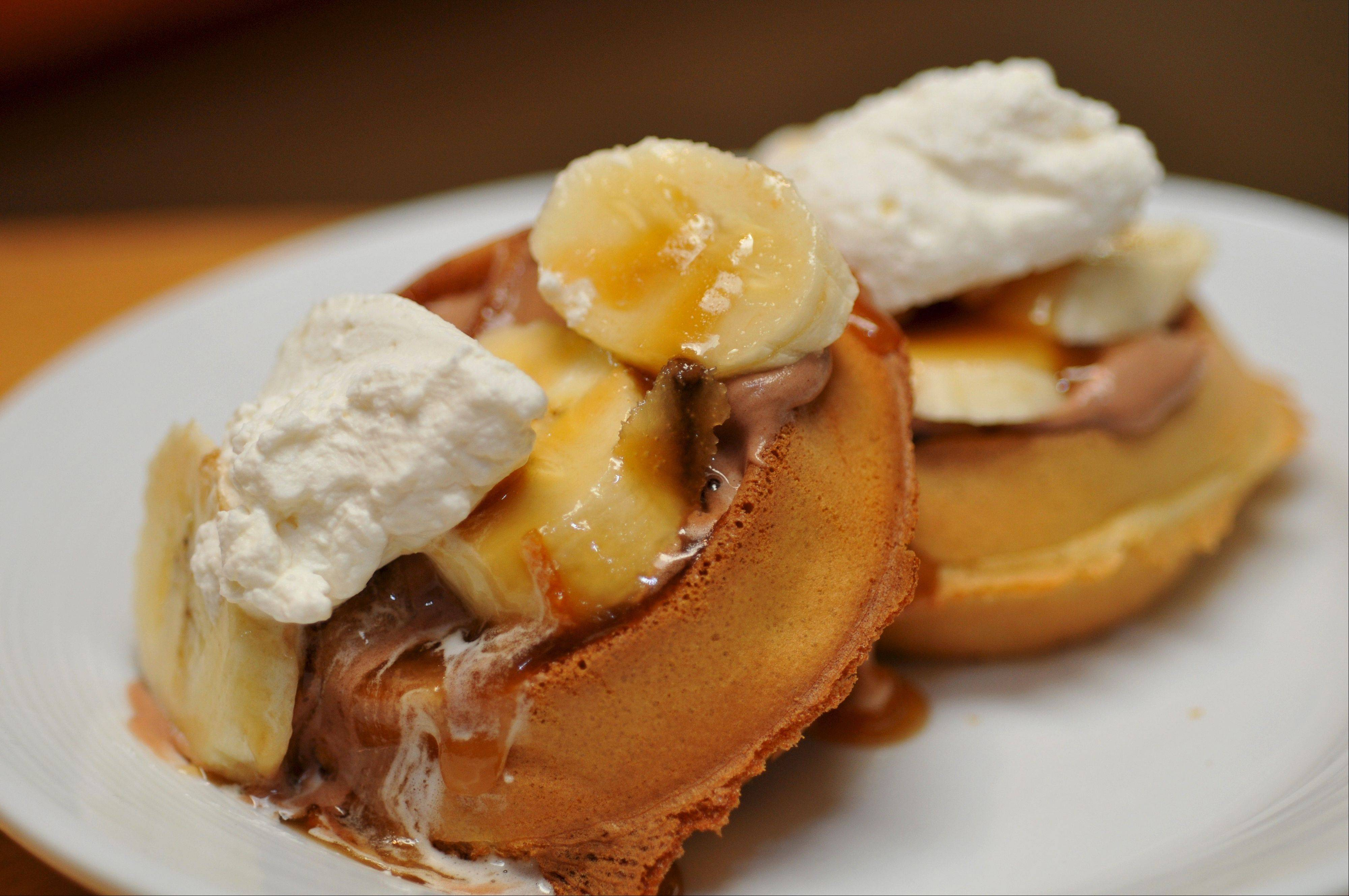 The waffle bananas Foster graces the Pinstripes brunch buffet on Sunday. Not pictured: Santa.